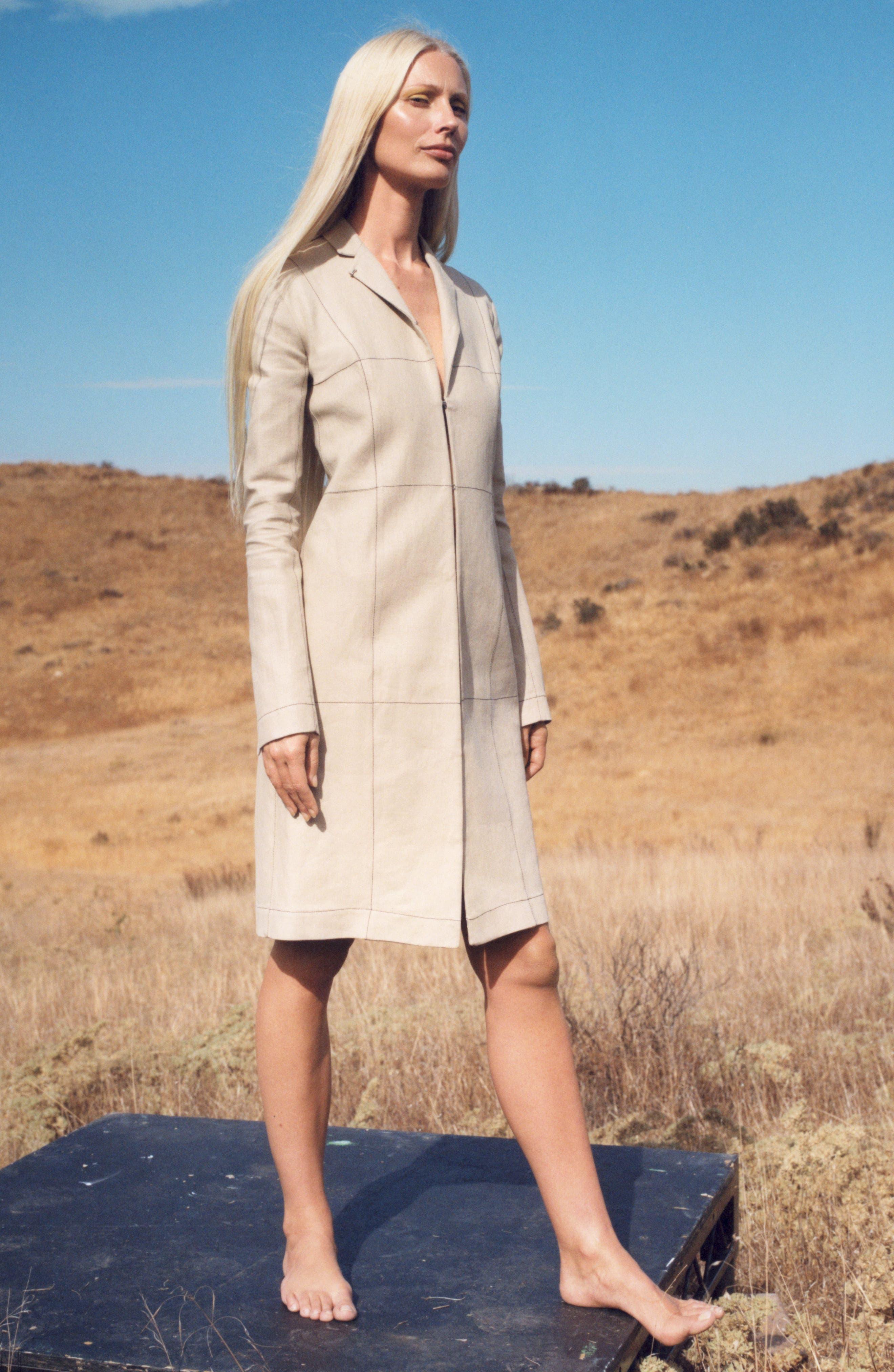 Topstitched Linen Coat,                             Alternate thumbnail 6, color,                             273