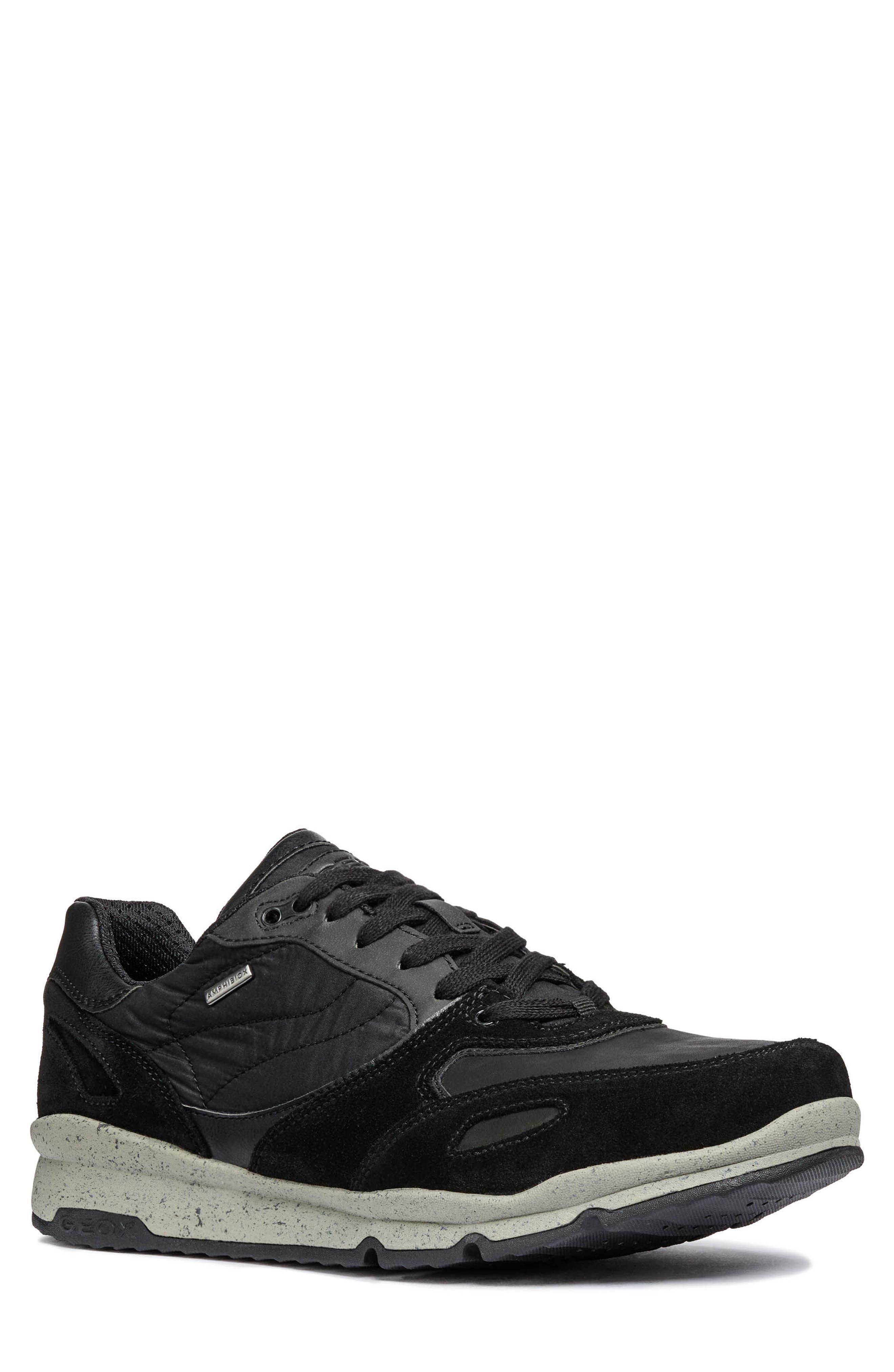 Geox Sandro Abx Ambphibiox Waterproof Sneaker, Black