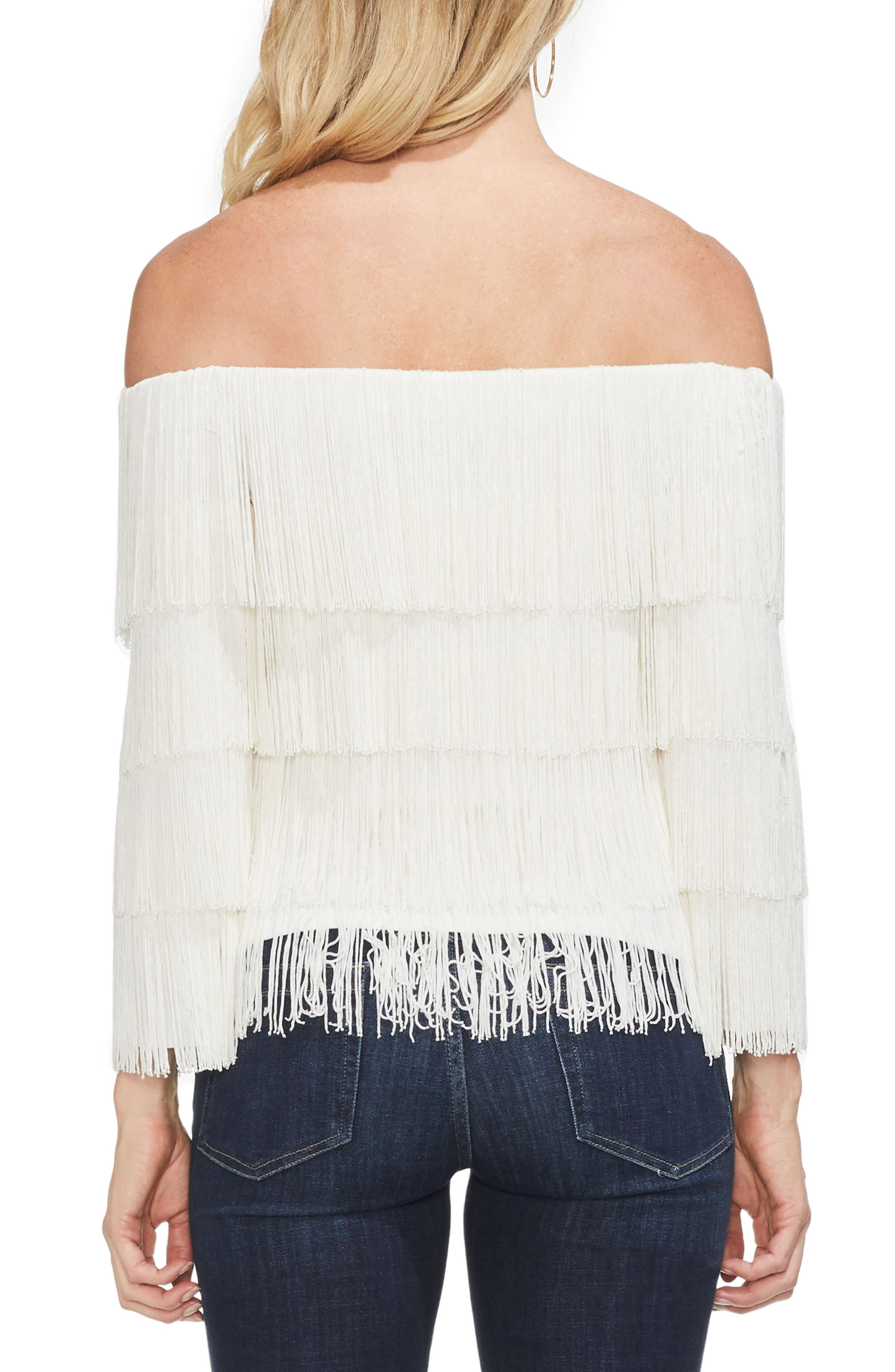 Tiered Fringe Top,                             Alternate thumbnail 2, color,                             PEARL IVORY