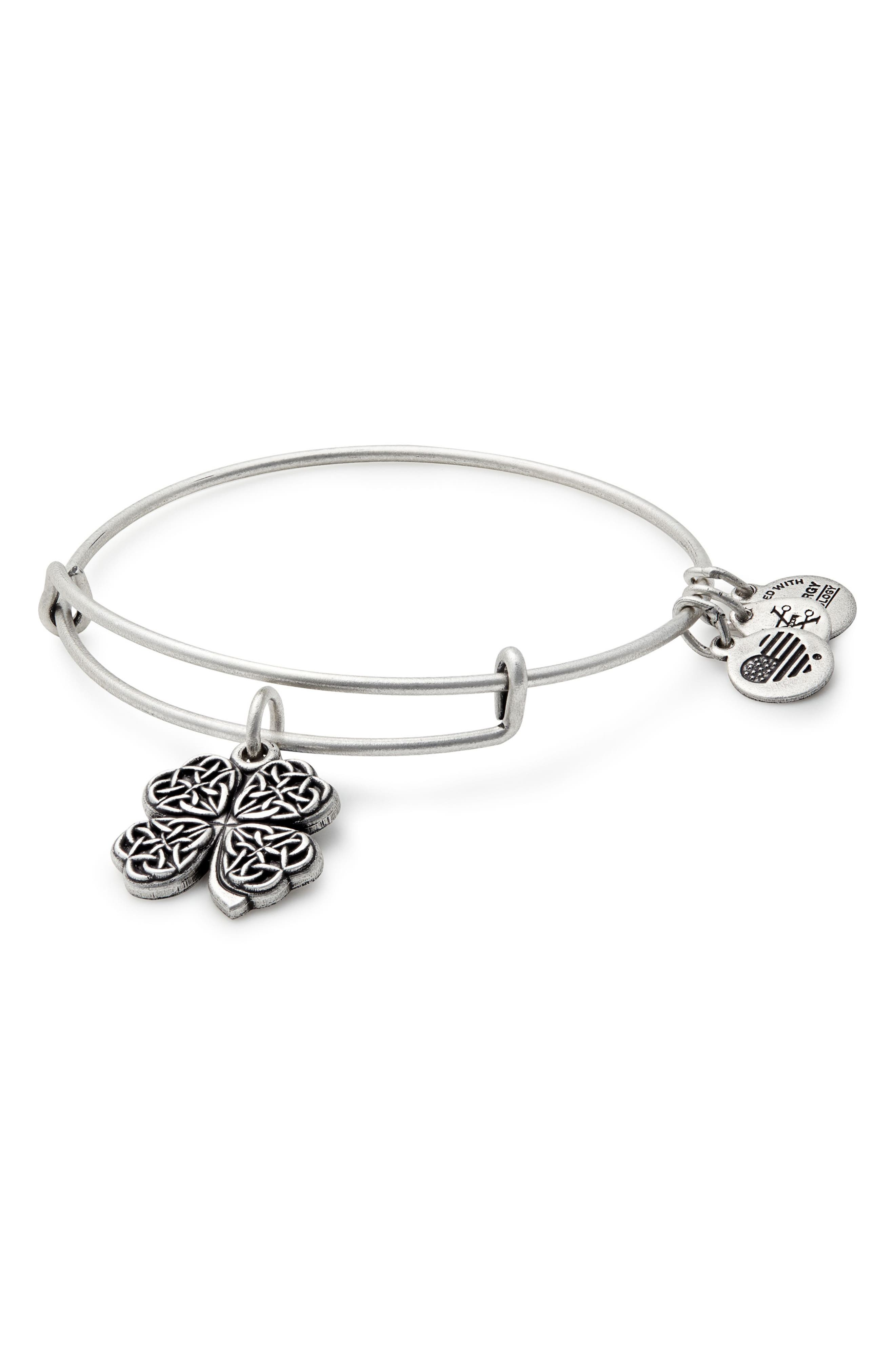 Four-Leaf Clover Adjustable Wire Bangle,                             Main thumbnail 1, color,                             RUSSIAN SILVER