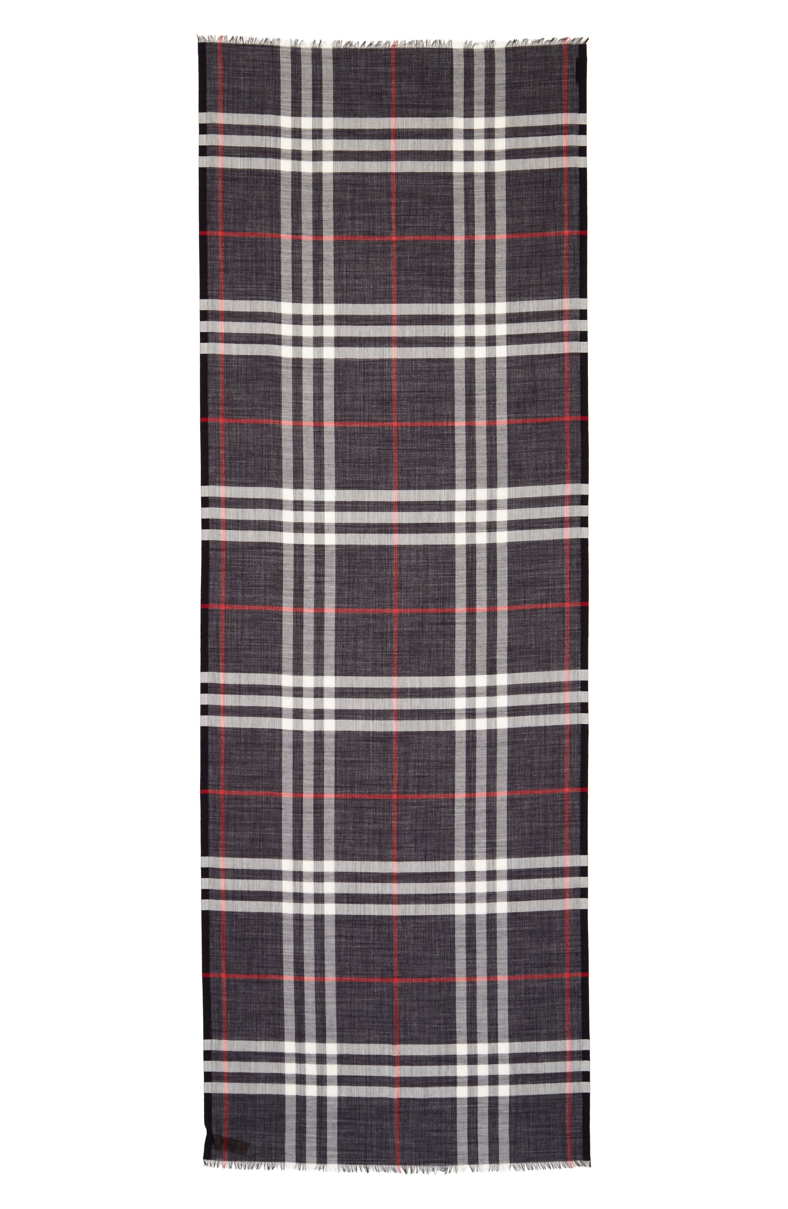 Giant Check Print Wool & Silk Scarf,                         Main,                         color,