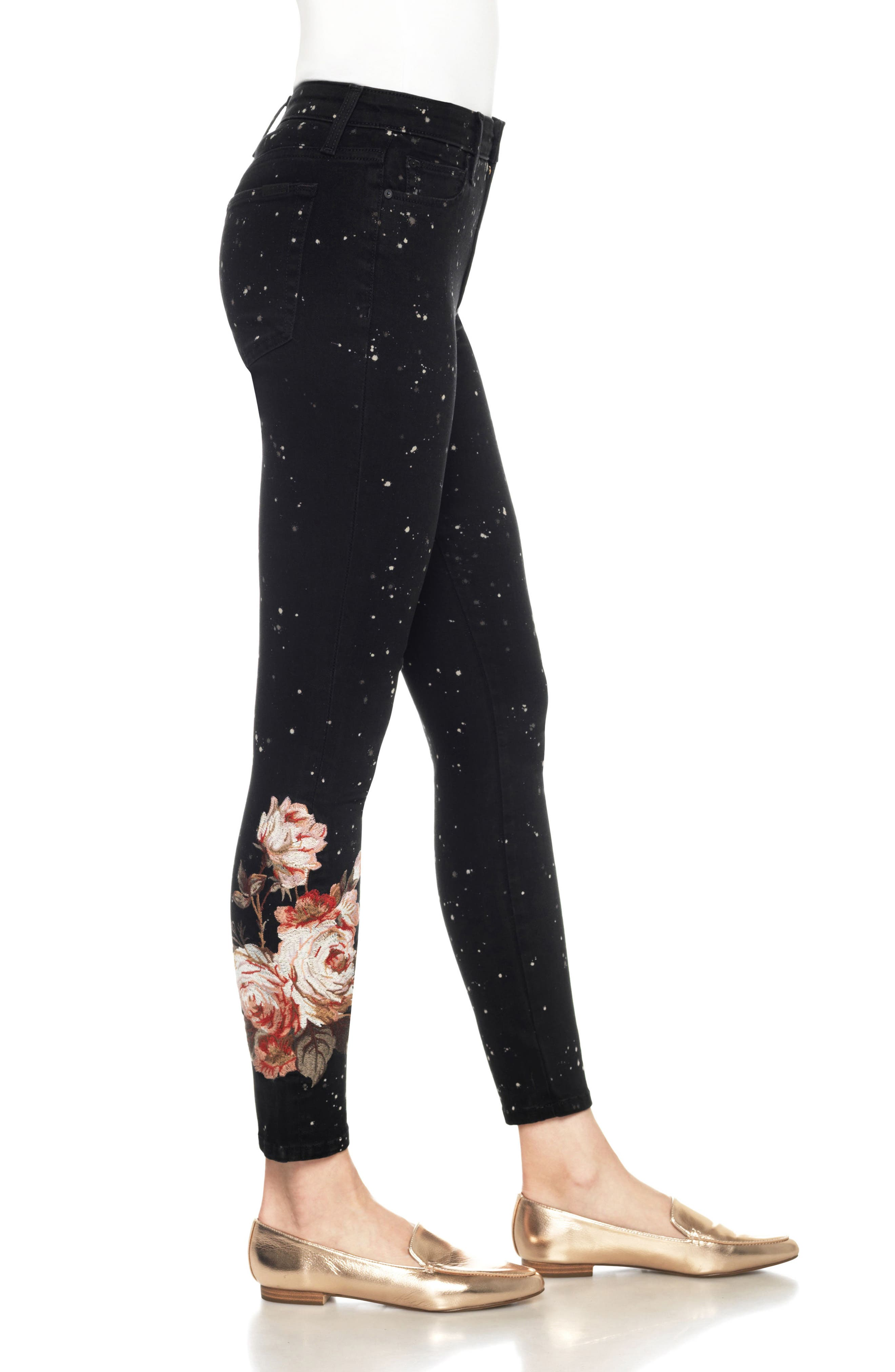 Charlie Embroidered Ankle Jeans,                             Alternate thumbnail 3, color,                             019