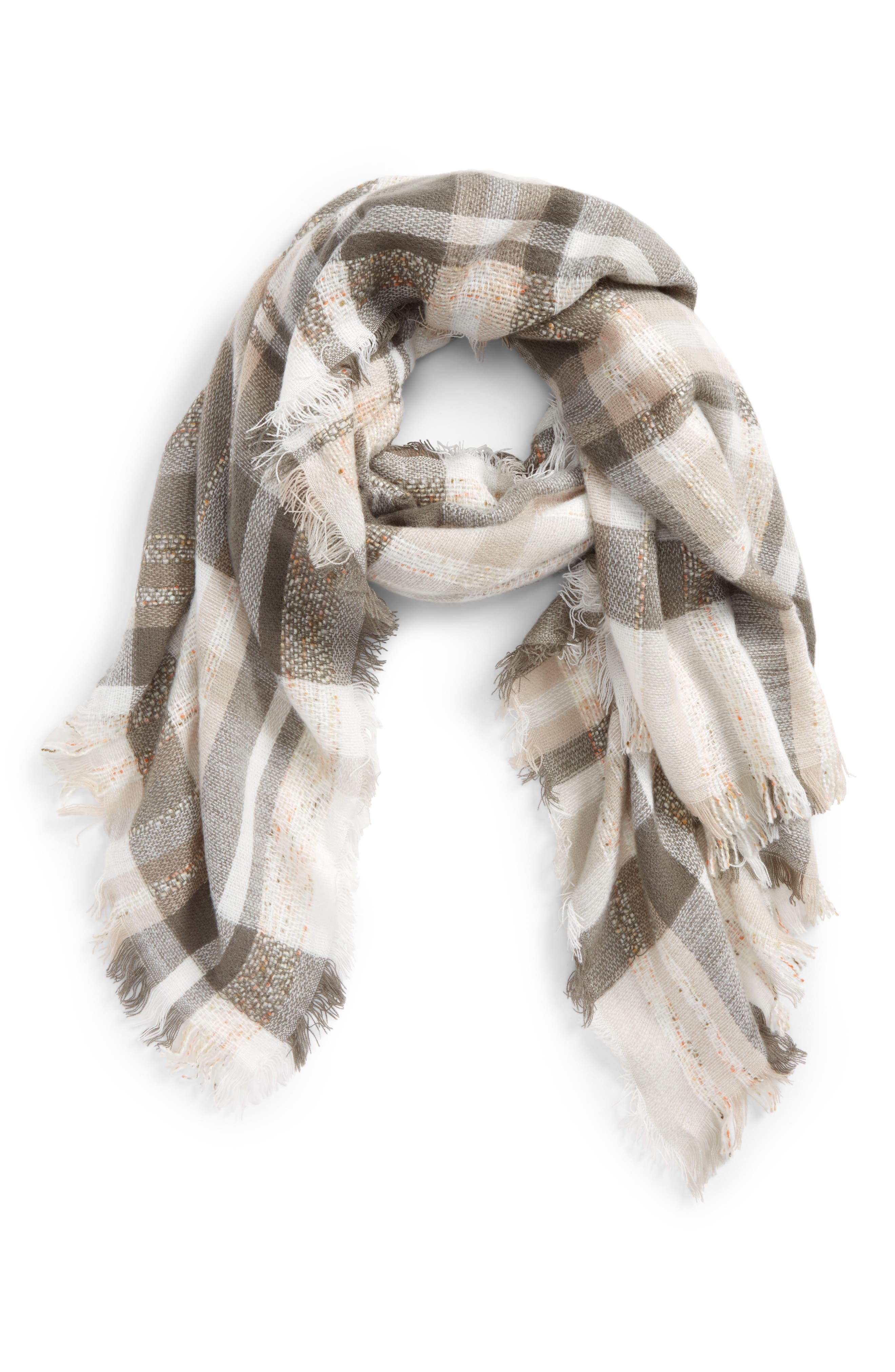 Plaid Tweed Scarf, Main, color, 020