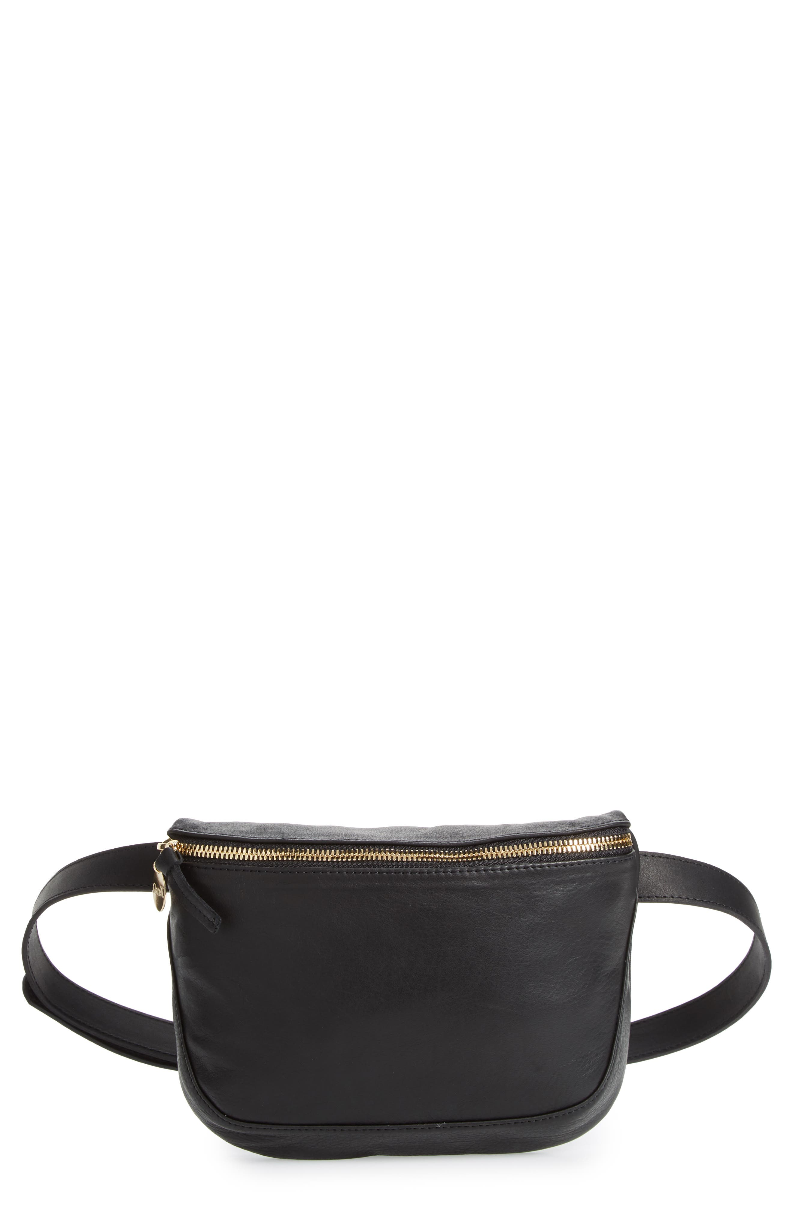 Leather Fanny Pack,                         Main,                         color, BLACK