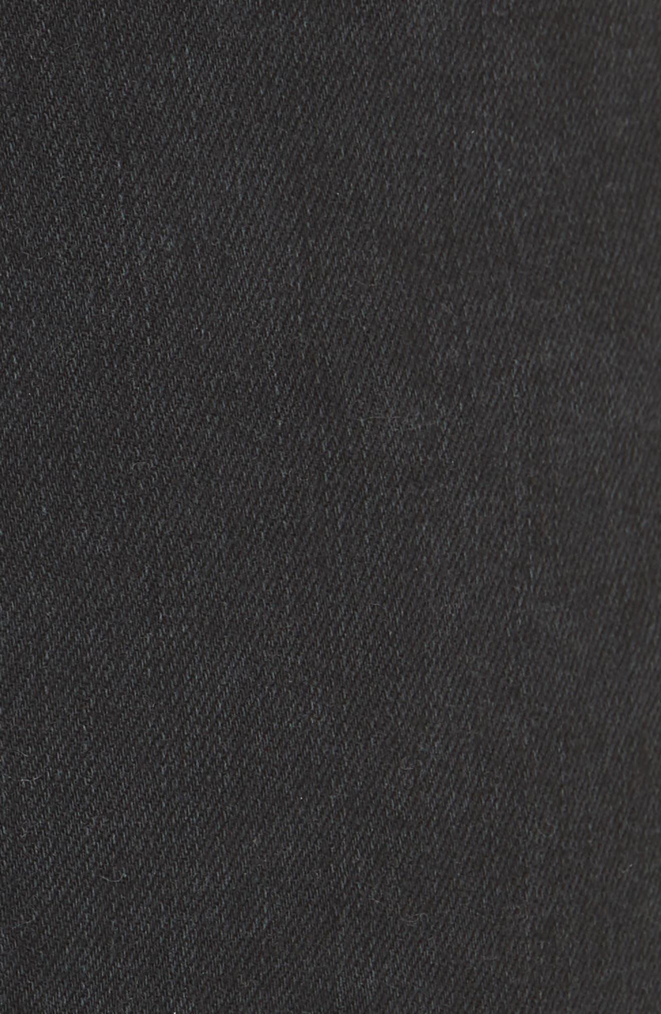 Frayed Hem Pull-On Ankle Jeans,                             Alternate thumbnail 5, color,                             WASHED BLACK