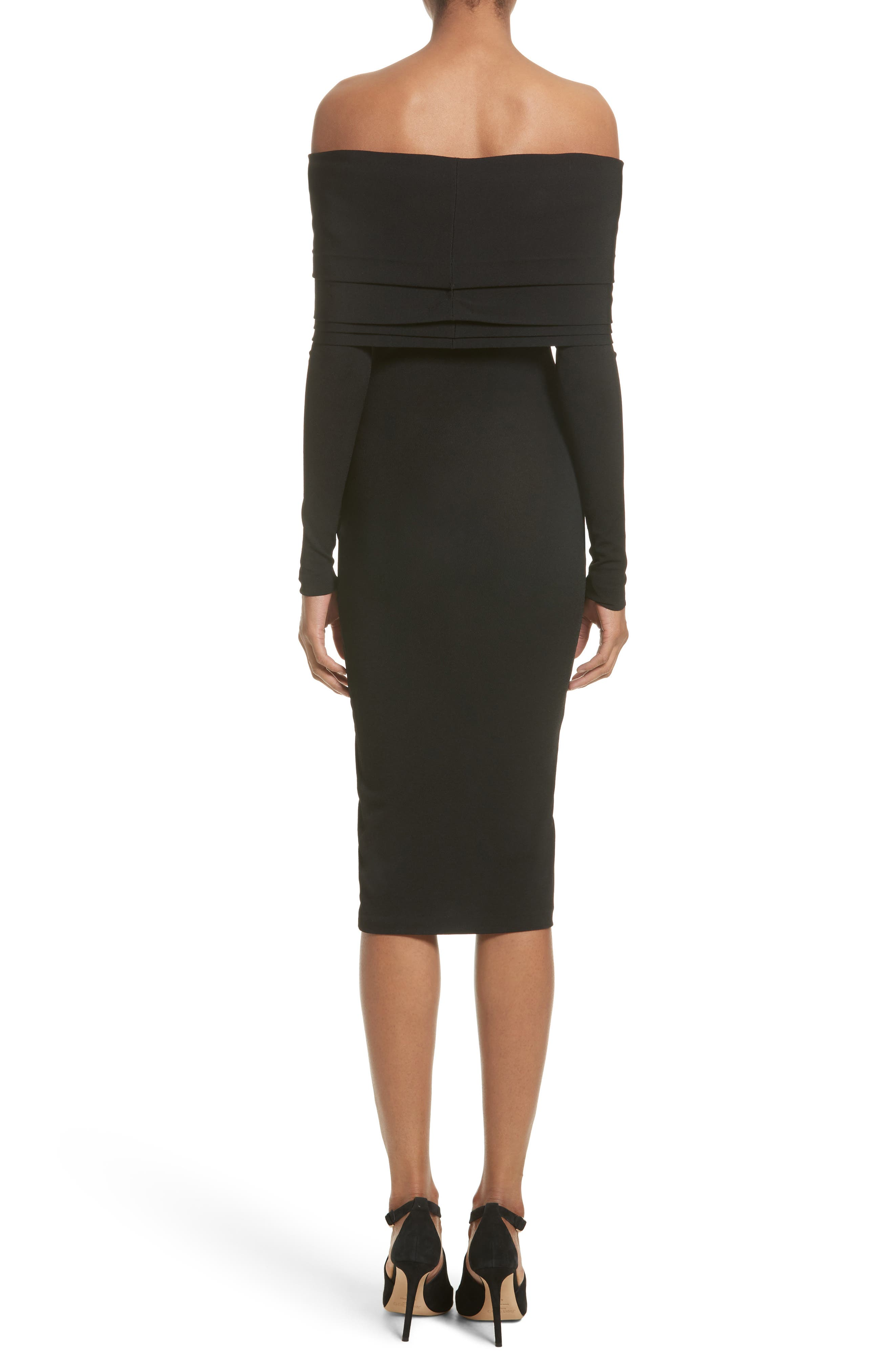 Layered Knit Off the Shoulder Dress,                             Alternate thumbnail 2, color,                             001