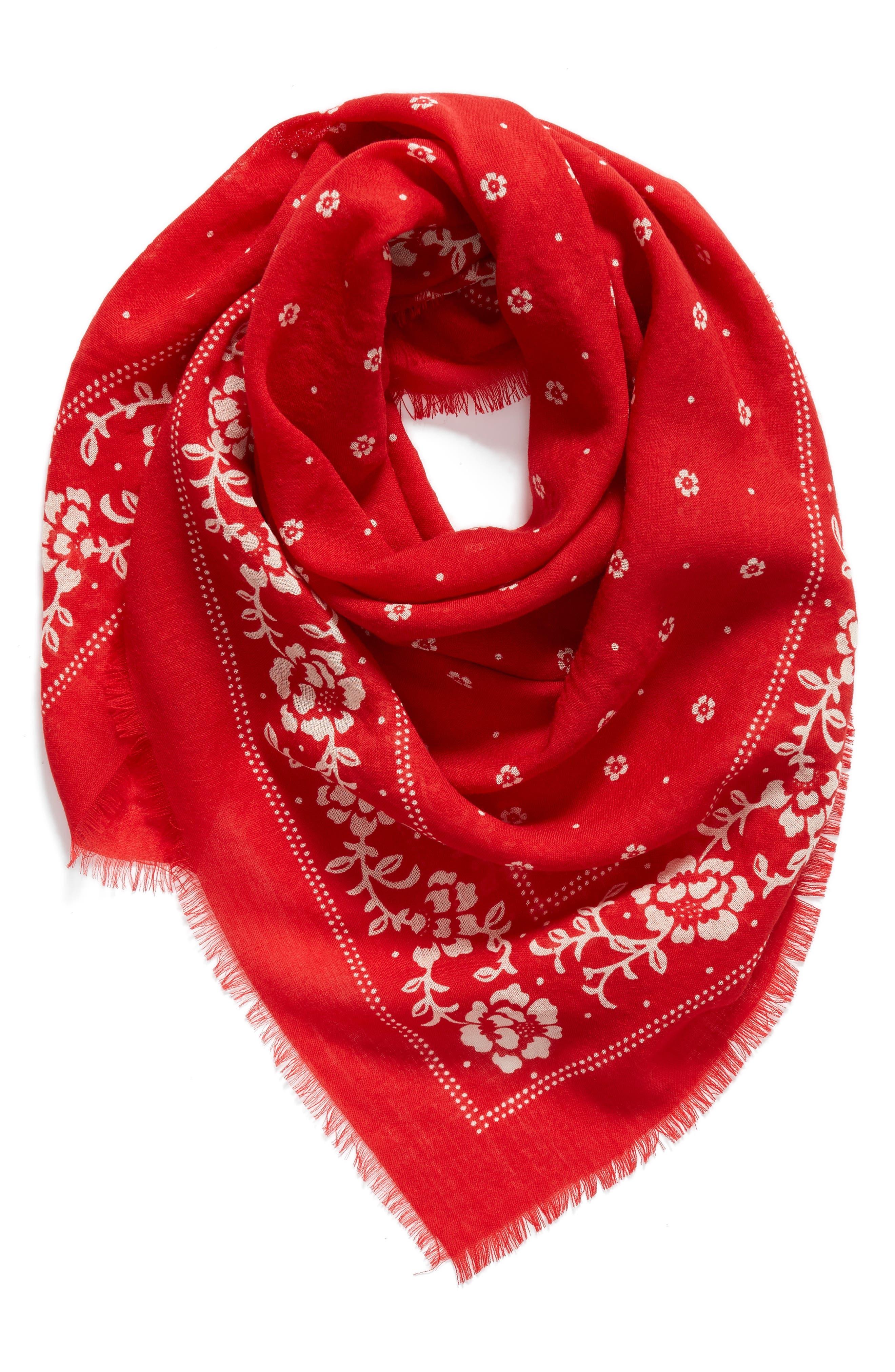 wool bandana,                             Alternate thumbnail 2, color,                             LINGONBERRY