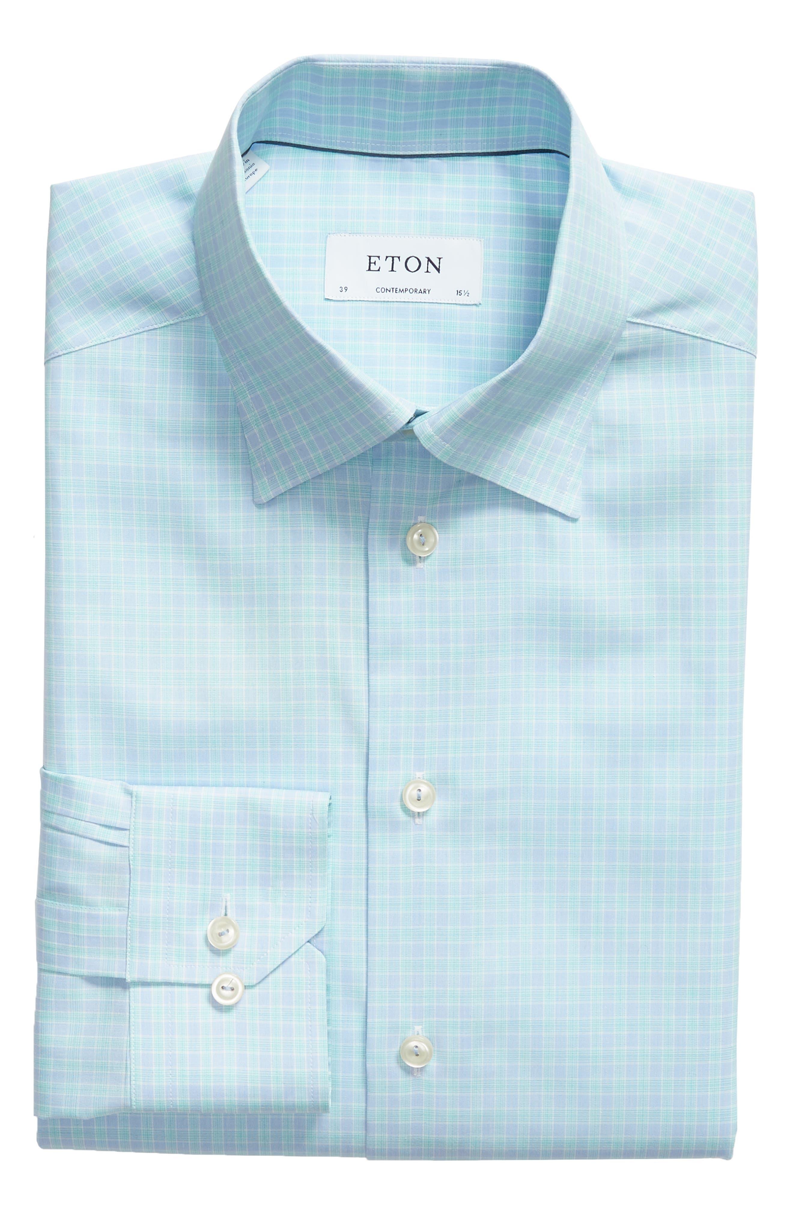 Contemporary Fit Plaid Dress Shirt,                             Alternate thumbnail 5, color,                             400