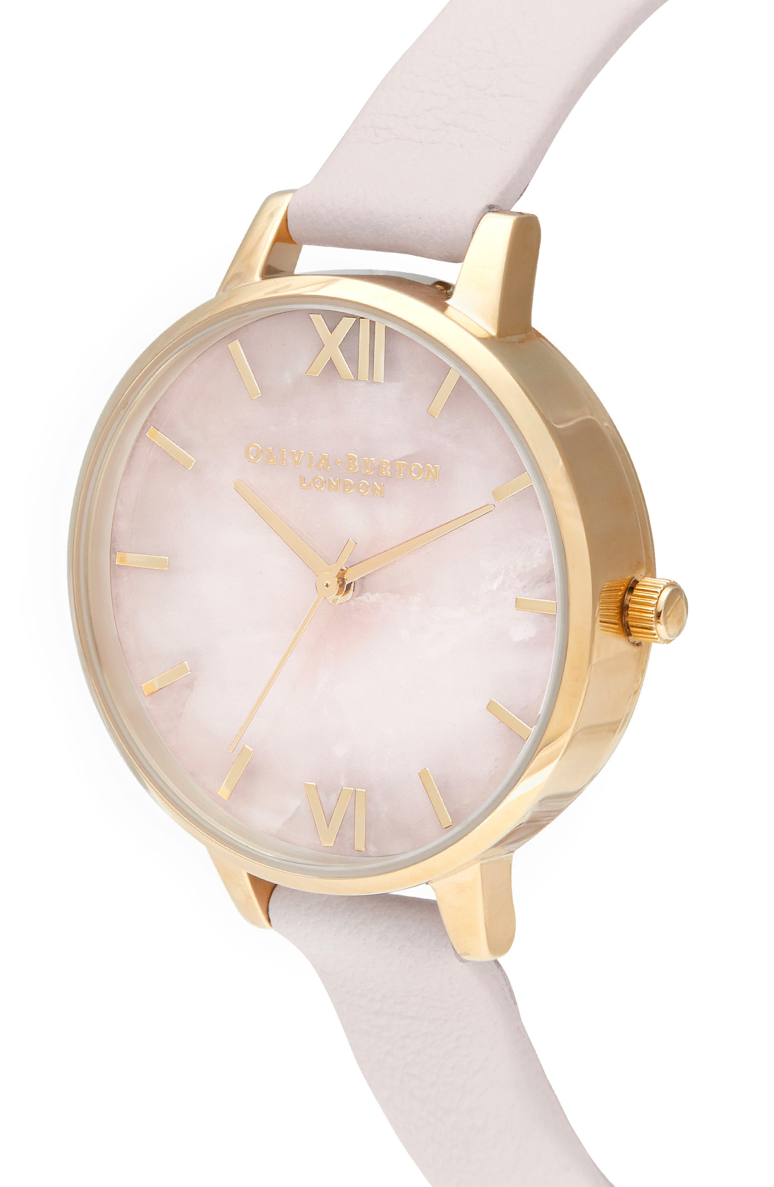 Rose Quartz Leather Strap Watch, 34mm,                             Alternate thumbnail 3, color,                             BLOSSOM/ ROSE QUARTZ/ GOLD