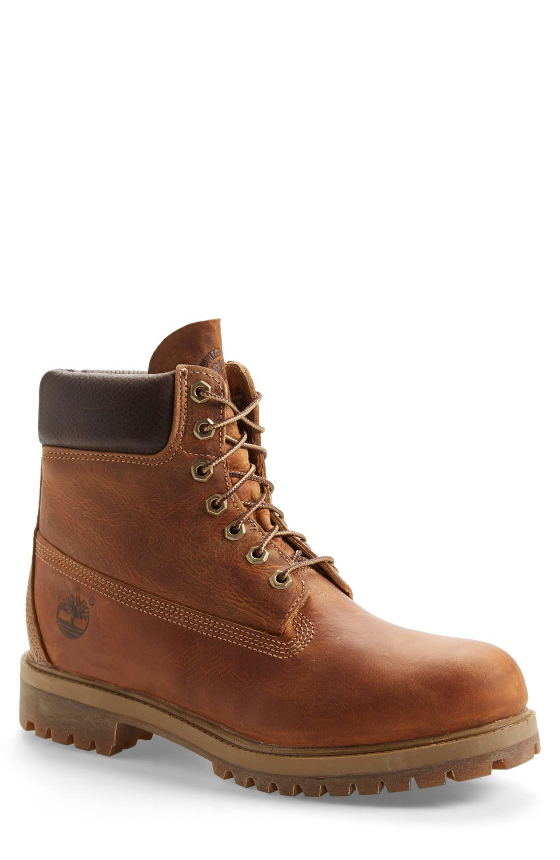 'Premium Heritage' Round Toe Boot,                             Main thumbnail 1, color,                             BURNT ORANGE OILED LEATHER