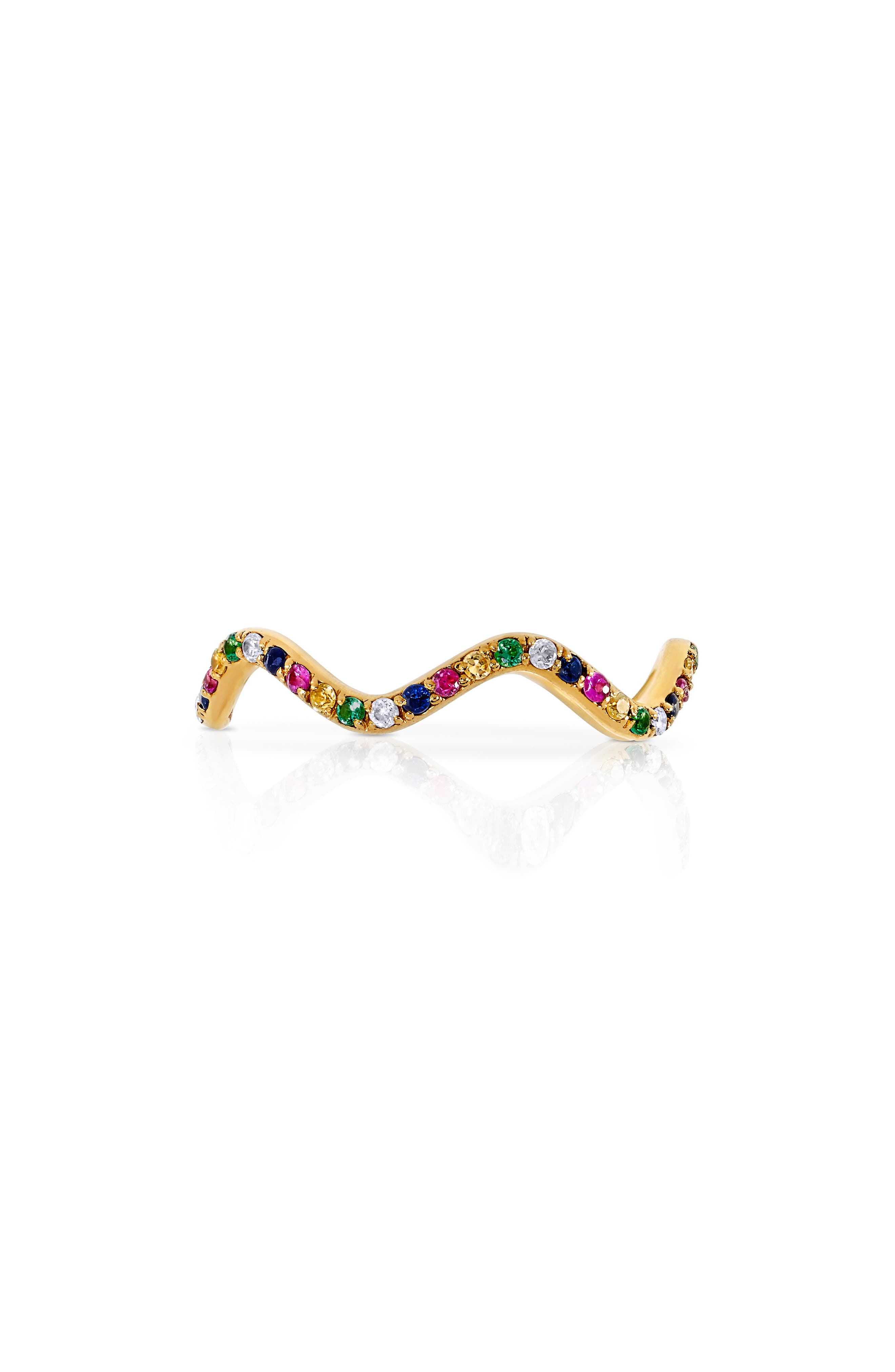 Baby Memphis Multistone Wave Band Ring,                             Alternate thumbnail 3, color,                             YELLOW GOLD PINK SAPPHIRE