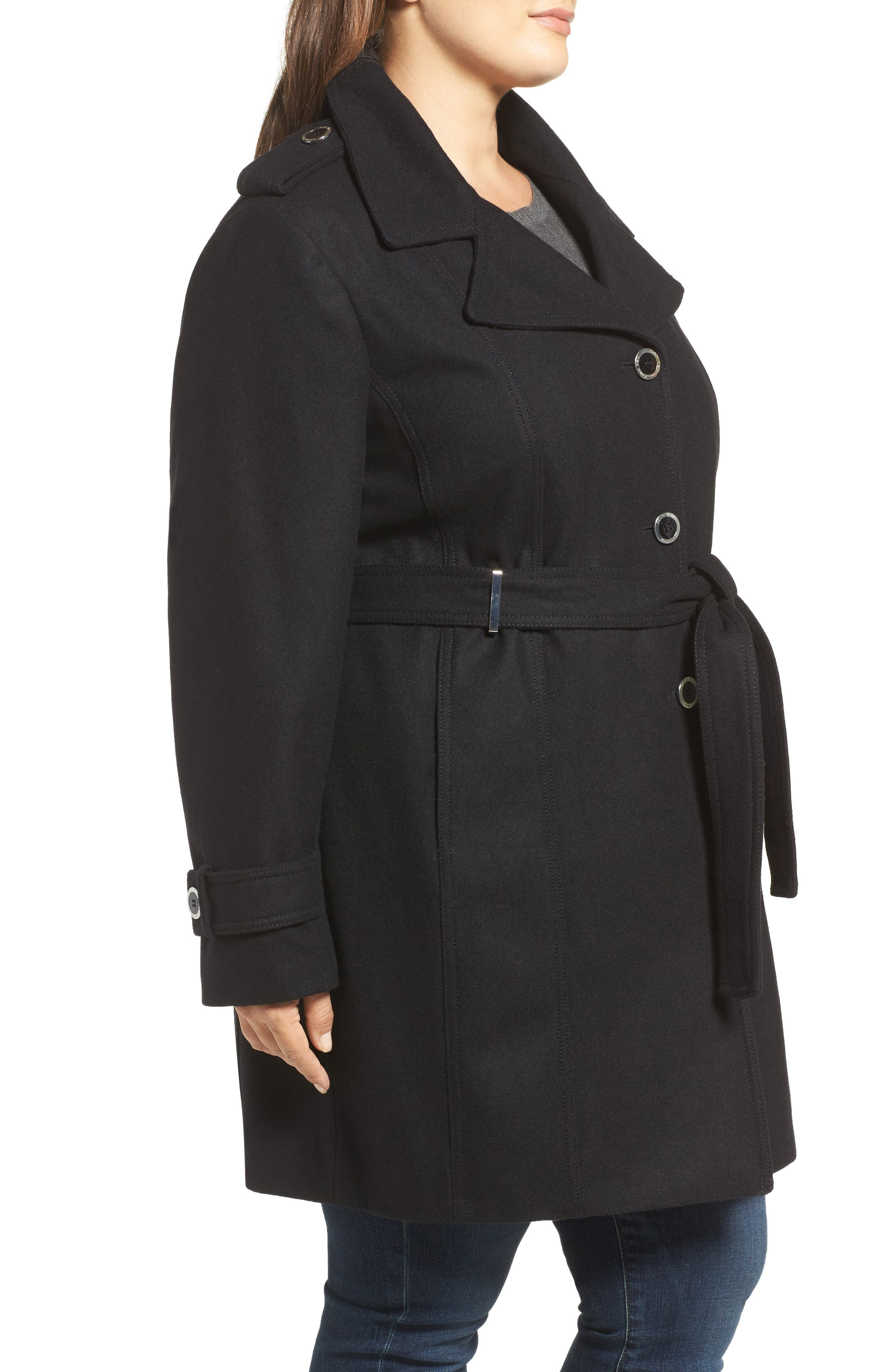 Single Breasted Wool Blend Trench Coat,                             Alternate thumbnail 7, color,