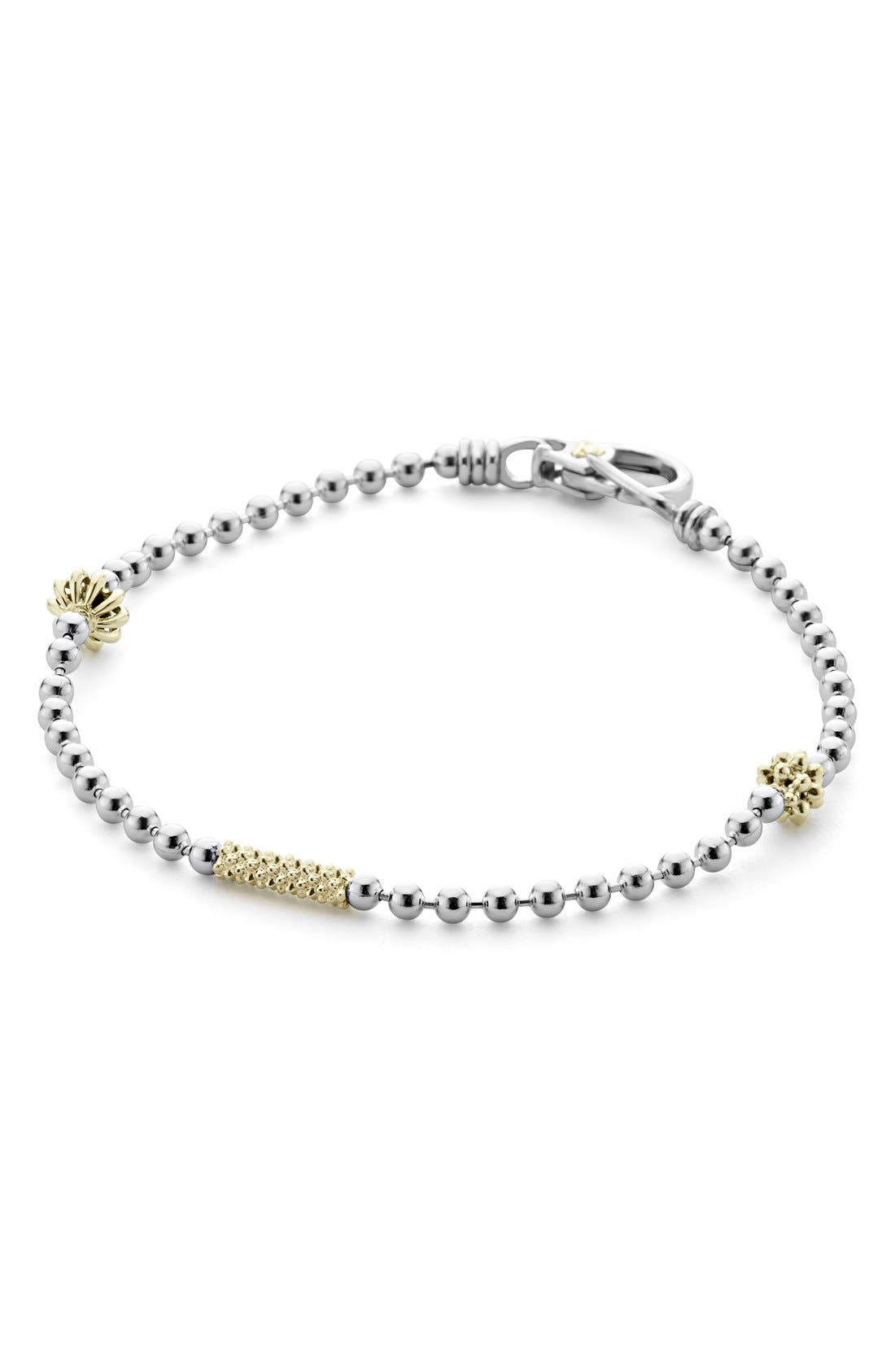 Caviar Icon Single Strand Bracelet,                             Alternate thumbnail 5, color,                             SILVER