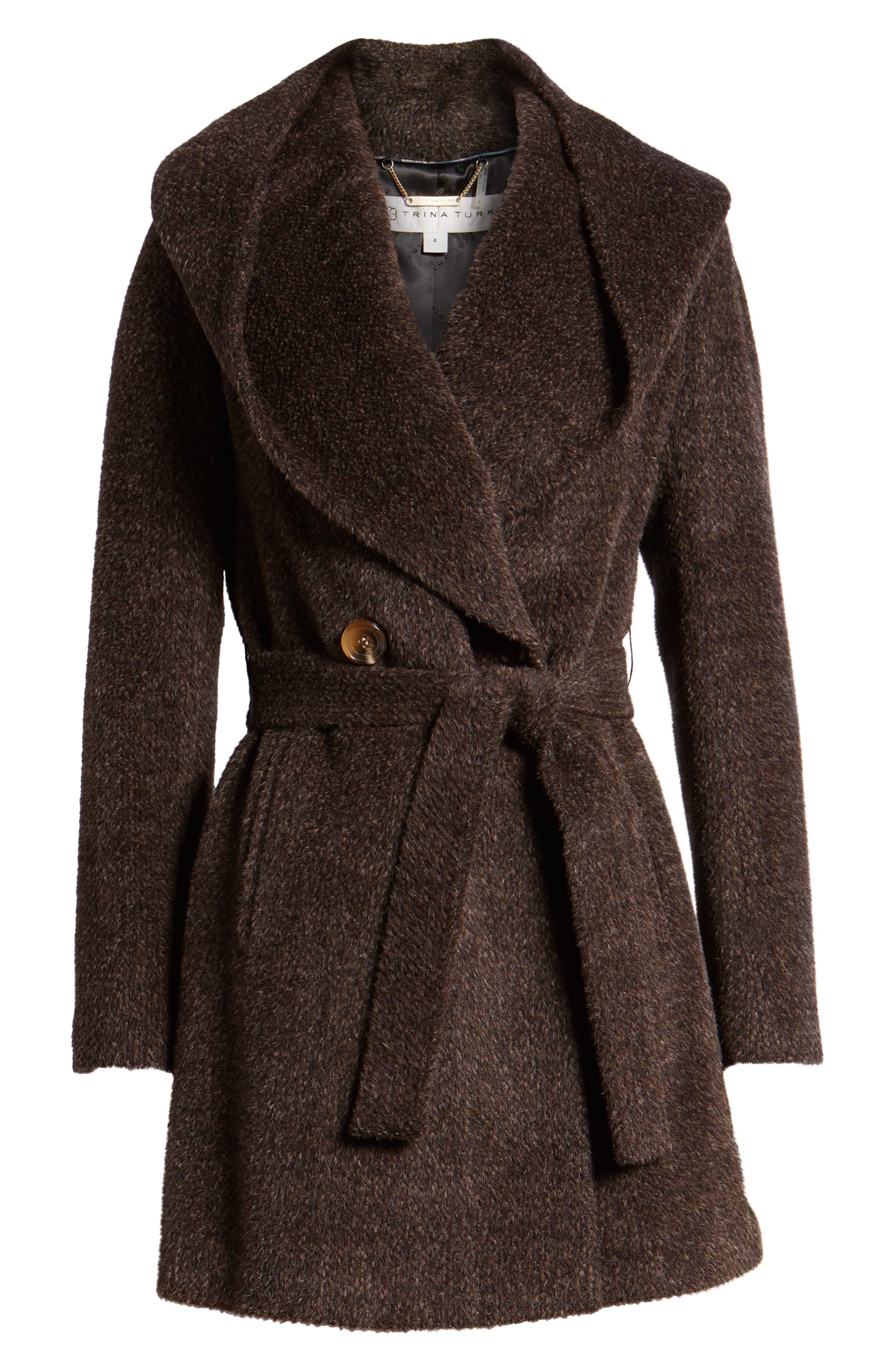 Grace Hooded Wrap Walker Coat,                             Alternate thumbnail 6, color,                             BROWN/ BLACK