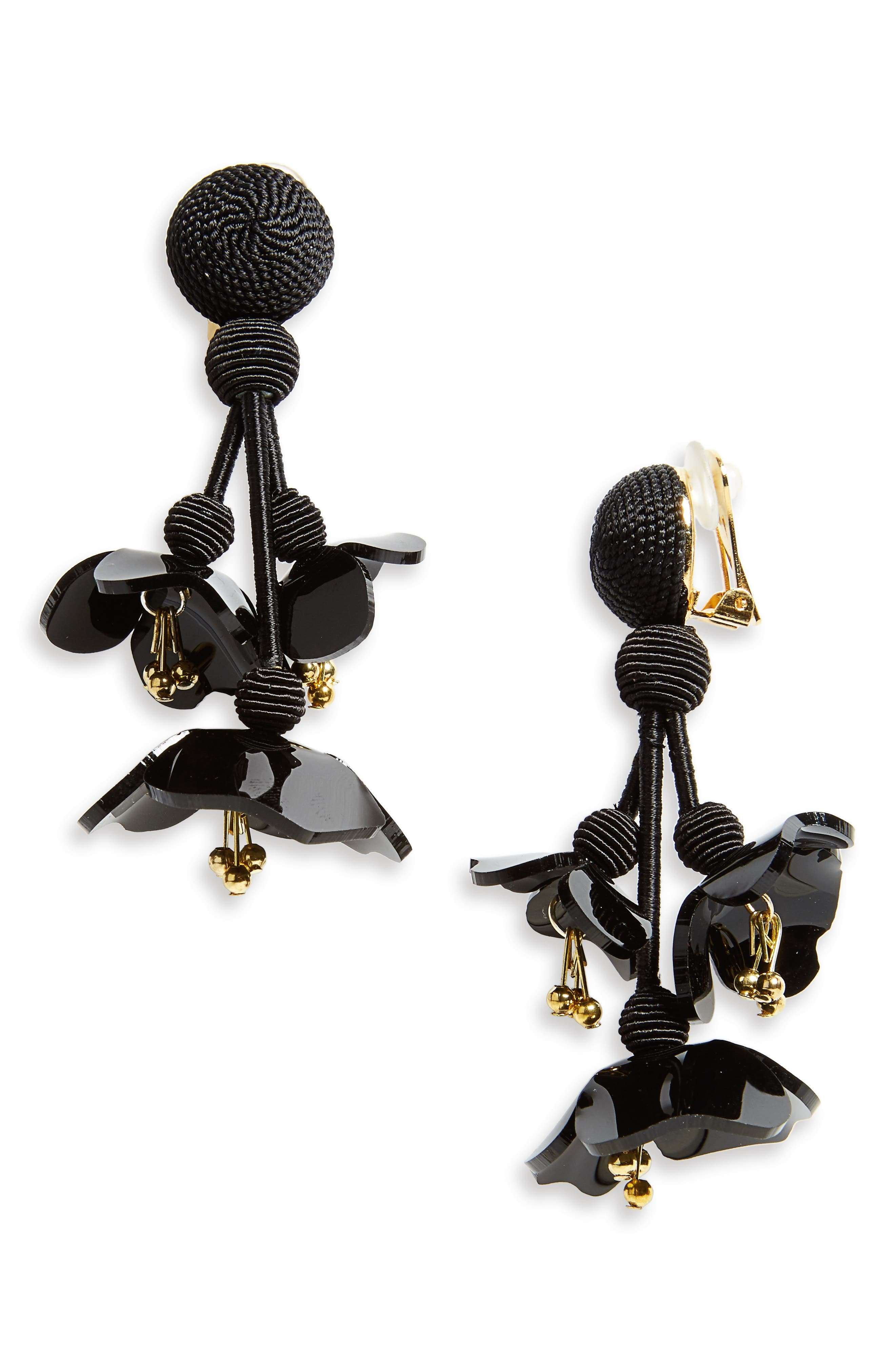 Falling Flower Drop Earrings,                         Main,                         color, BLACK