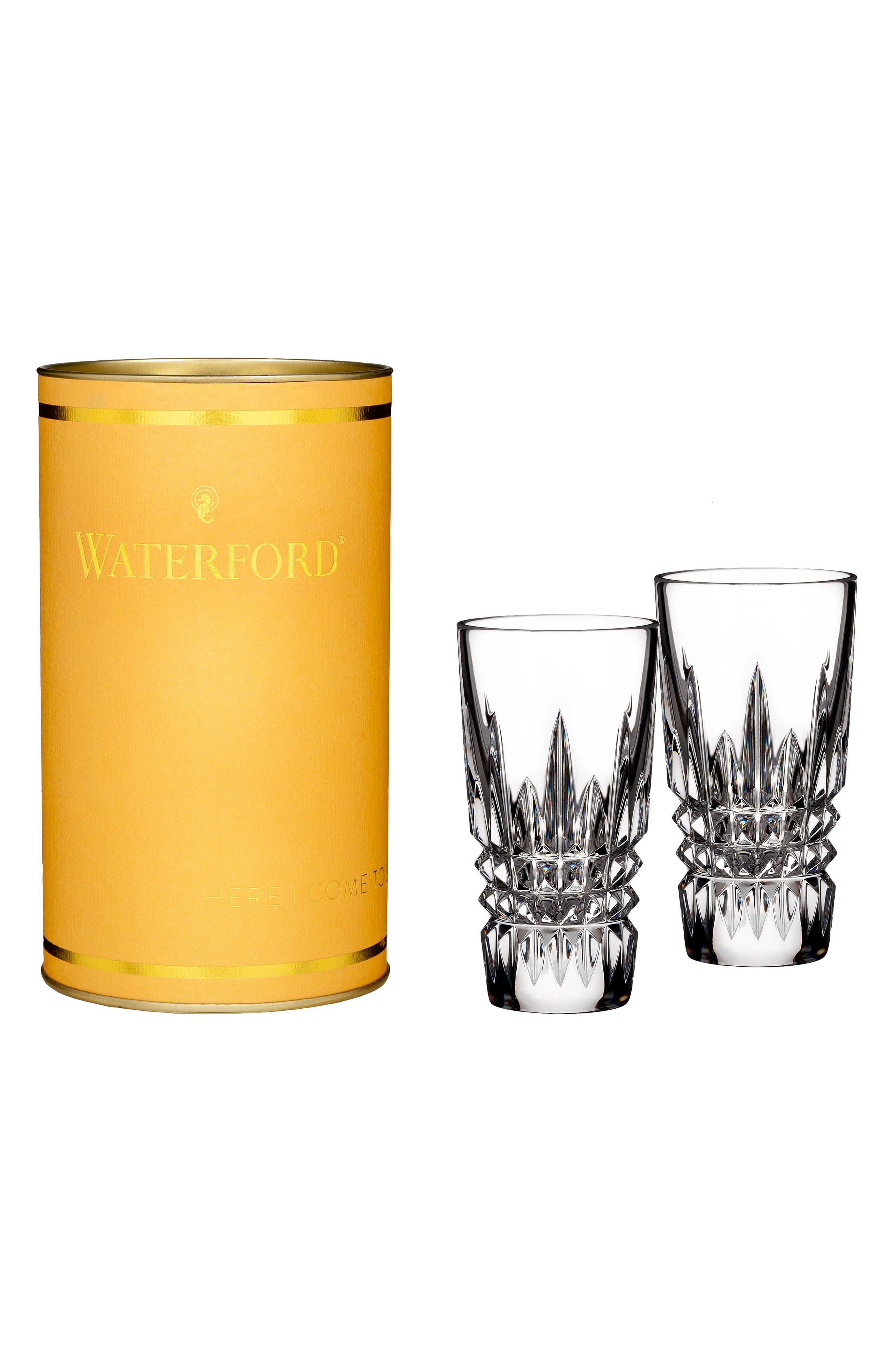 Giftology Lismore Diamond Set of 2 Lead Crystal Shot Glasses,                             Main thumbnail 1, color,                             CRYSTAL