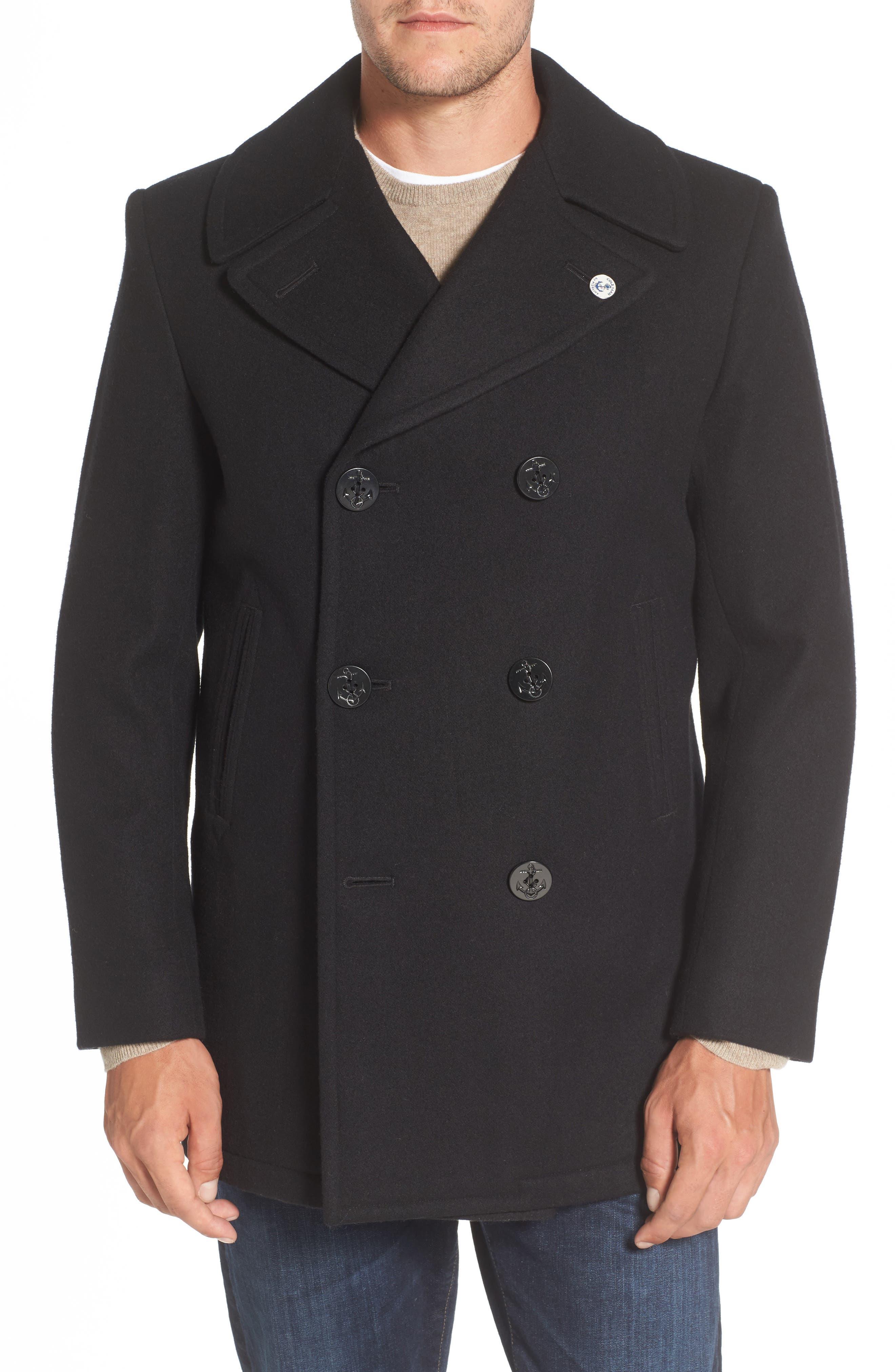 Wool Peacoat,                         Main,                         color, 001