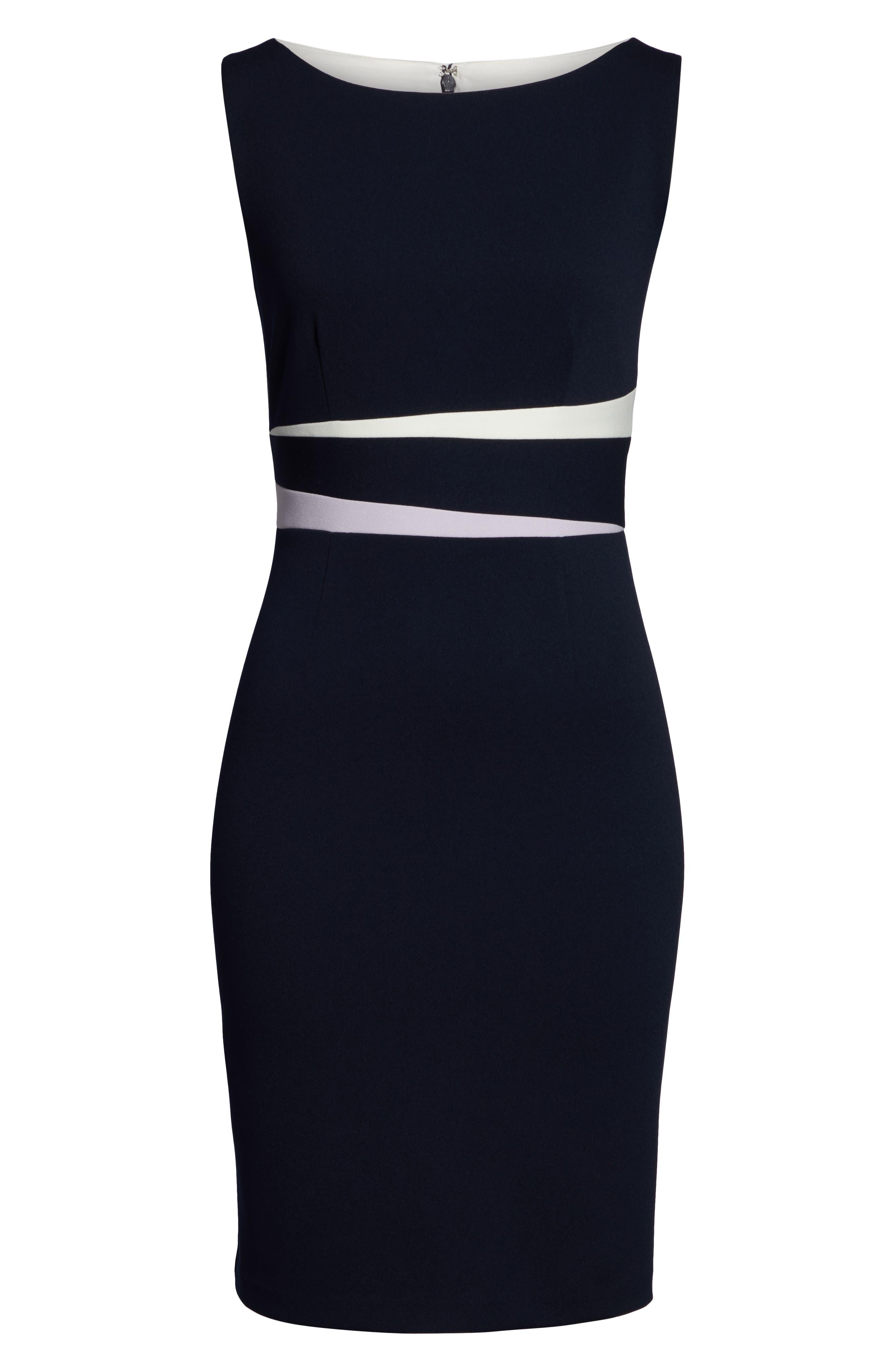 VINCE CAMUTO,                             Colorblock Sheath Dress,                             Alternate thumbnail 7, color,                             PURPLE/ BLUE