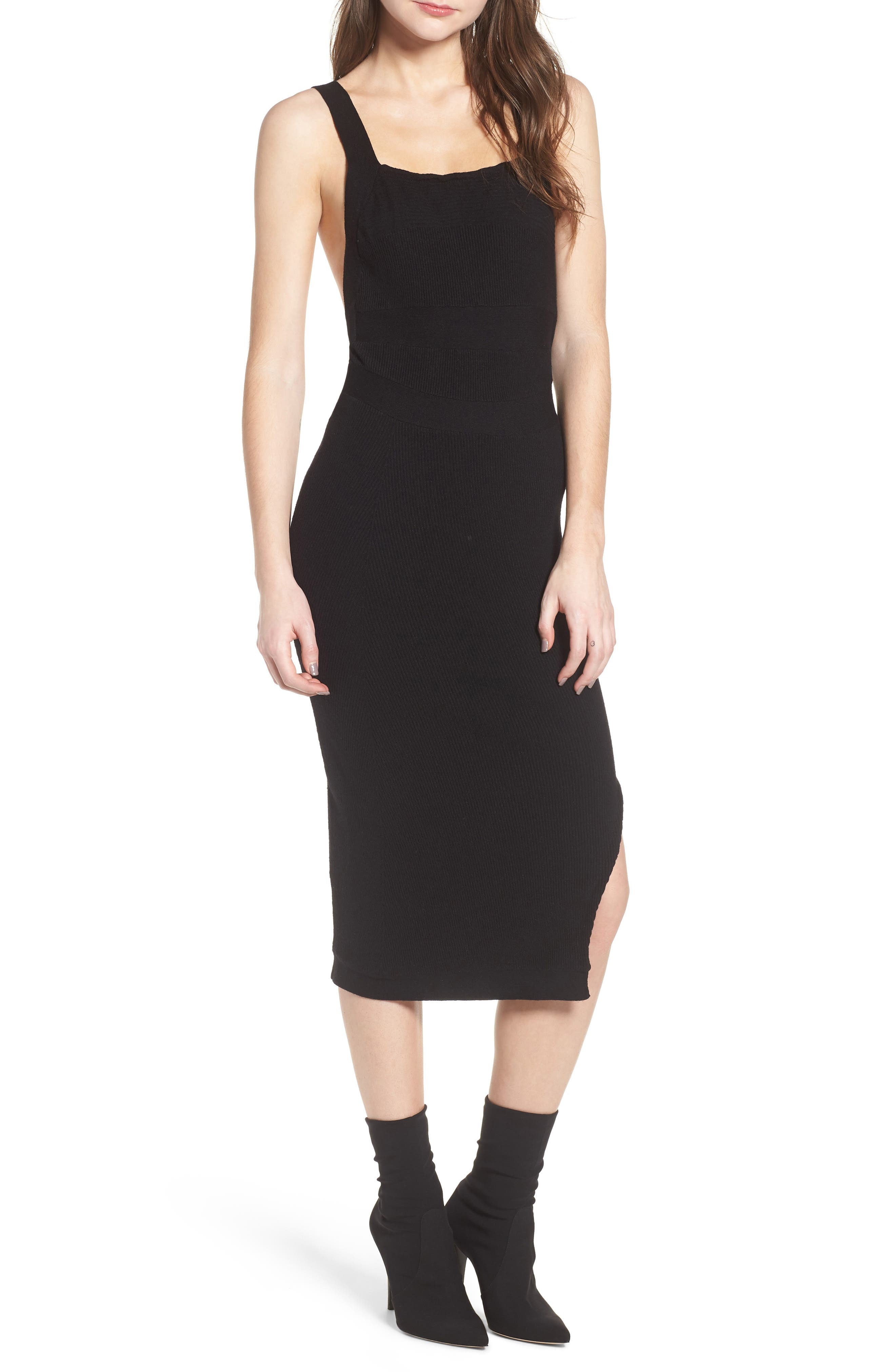 Midi Body-Con Dress,                             Main thumbnail 1, color,                             001