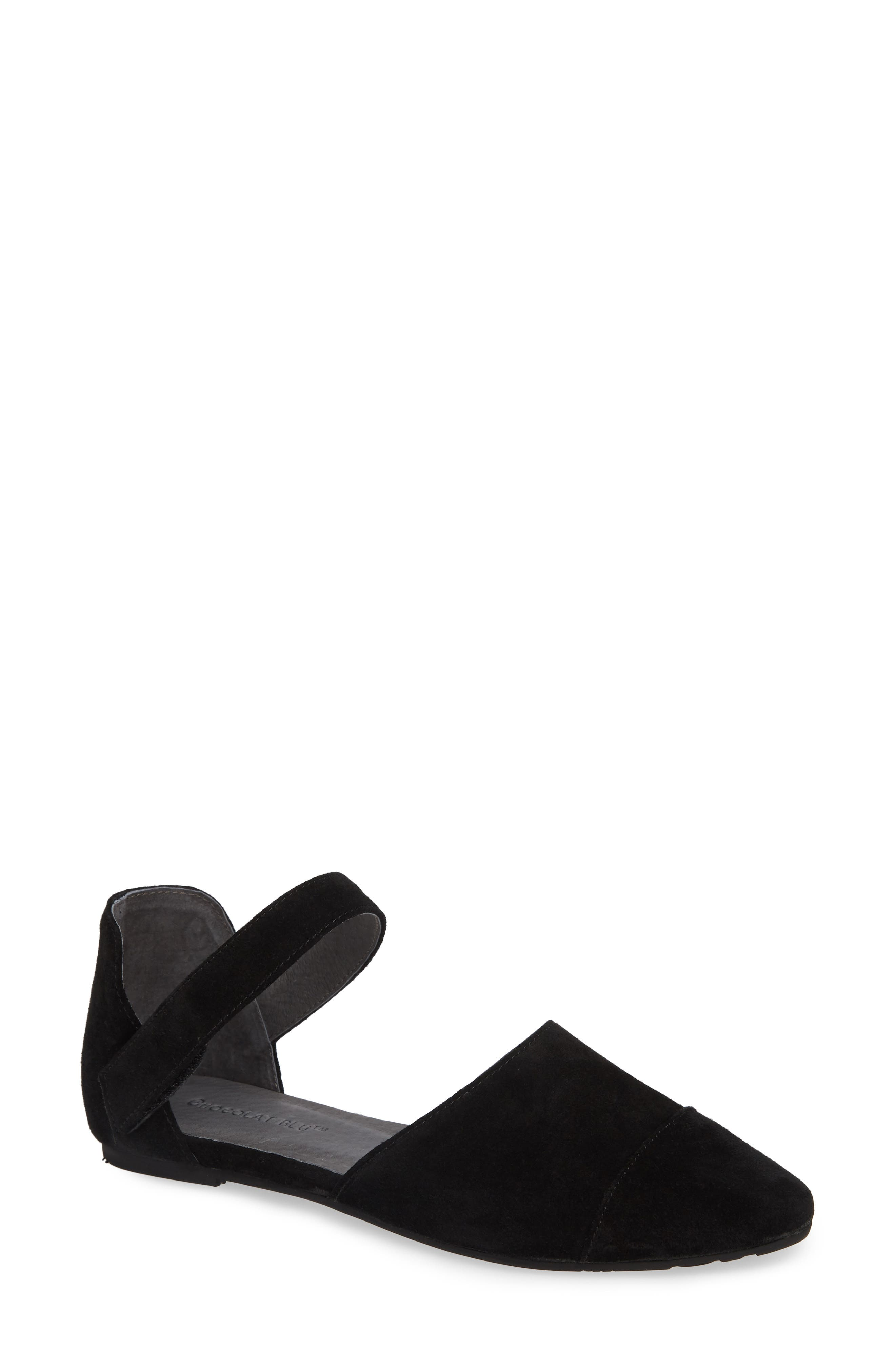 Gaia Pointy Toe Flat,                         Main,                         color, BLACK SUEDE