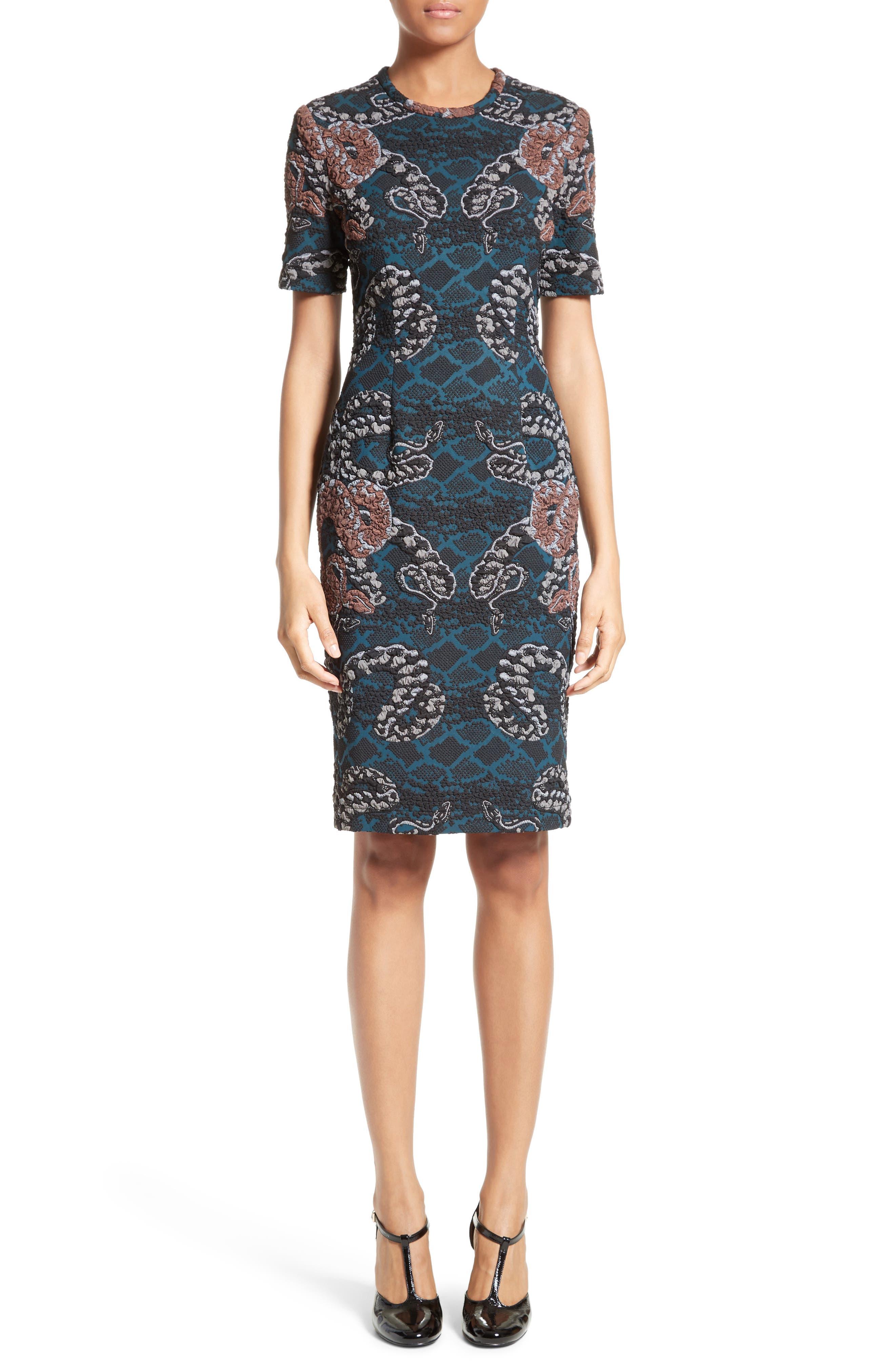 Serpent Jacquard Dress,                         Main,                         color, 400