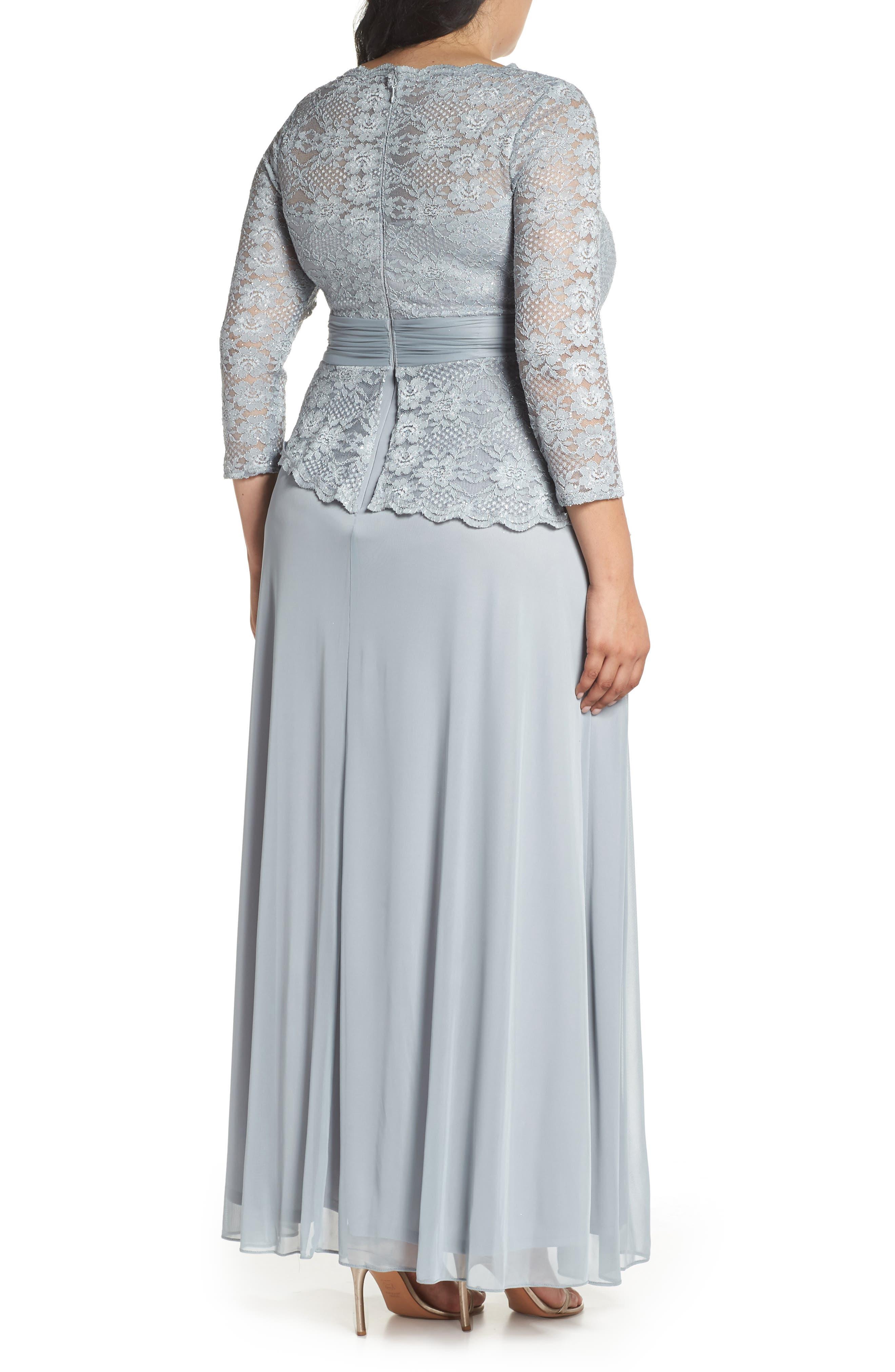 Asymmetrical Lace Bodice Gown,                             Alternate thumbnail 2, color,                             SAGE