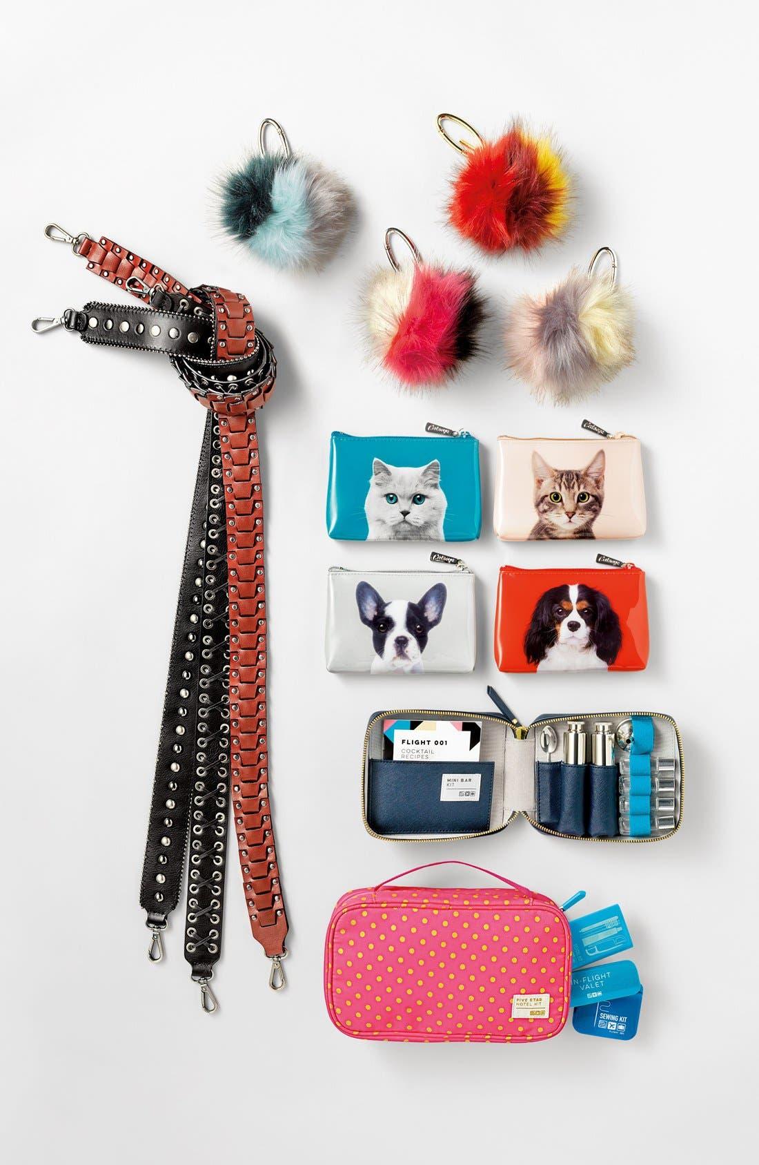 Patchwork Faux Fur Pompom Bag Charm,                             Alternate thumbnail 2, color,                             050