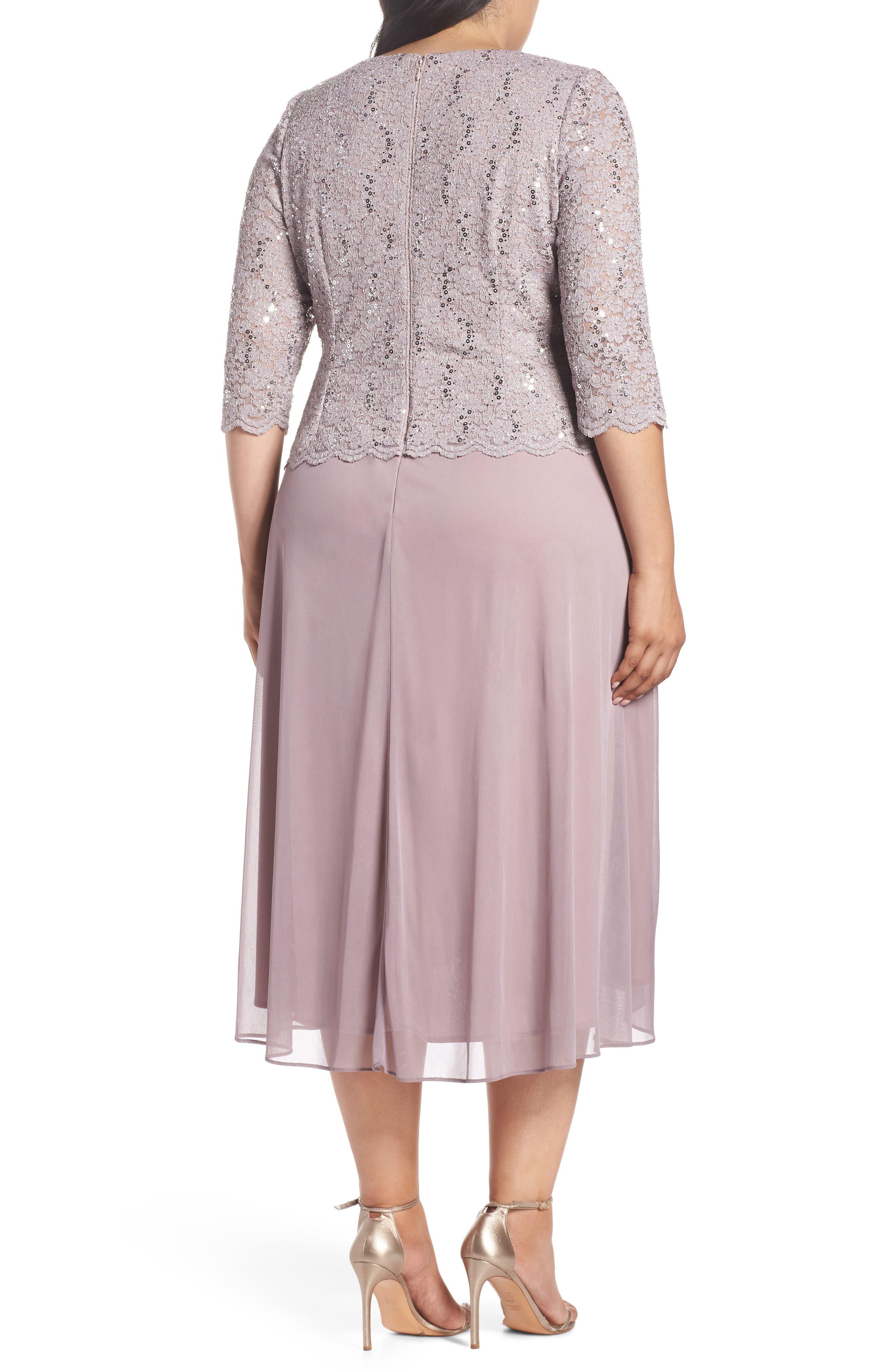 Tea Length Lace & Chiffon Mock Two-Piece Dress,                             Alternate thumbnail 2, color,                             595