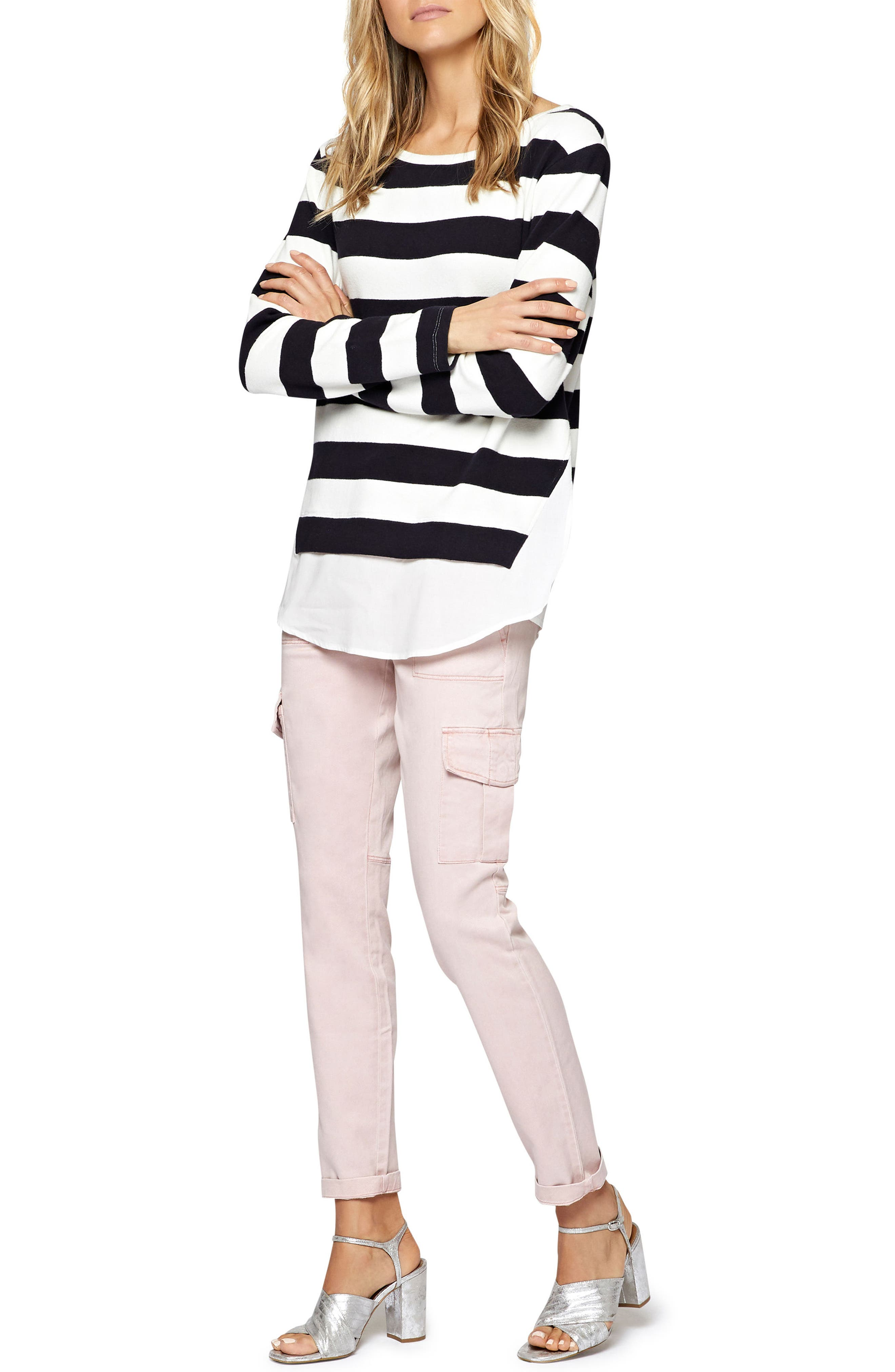Layered Look Stripe Sweater,                             Alternate thumbnail 2, color,                             496