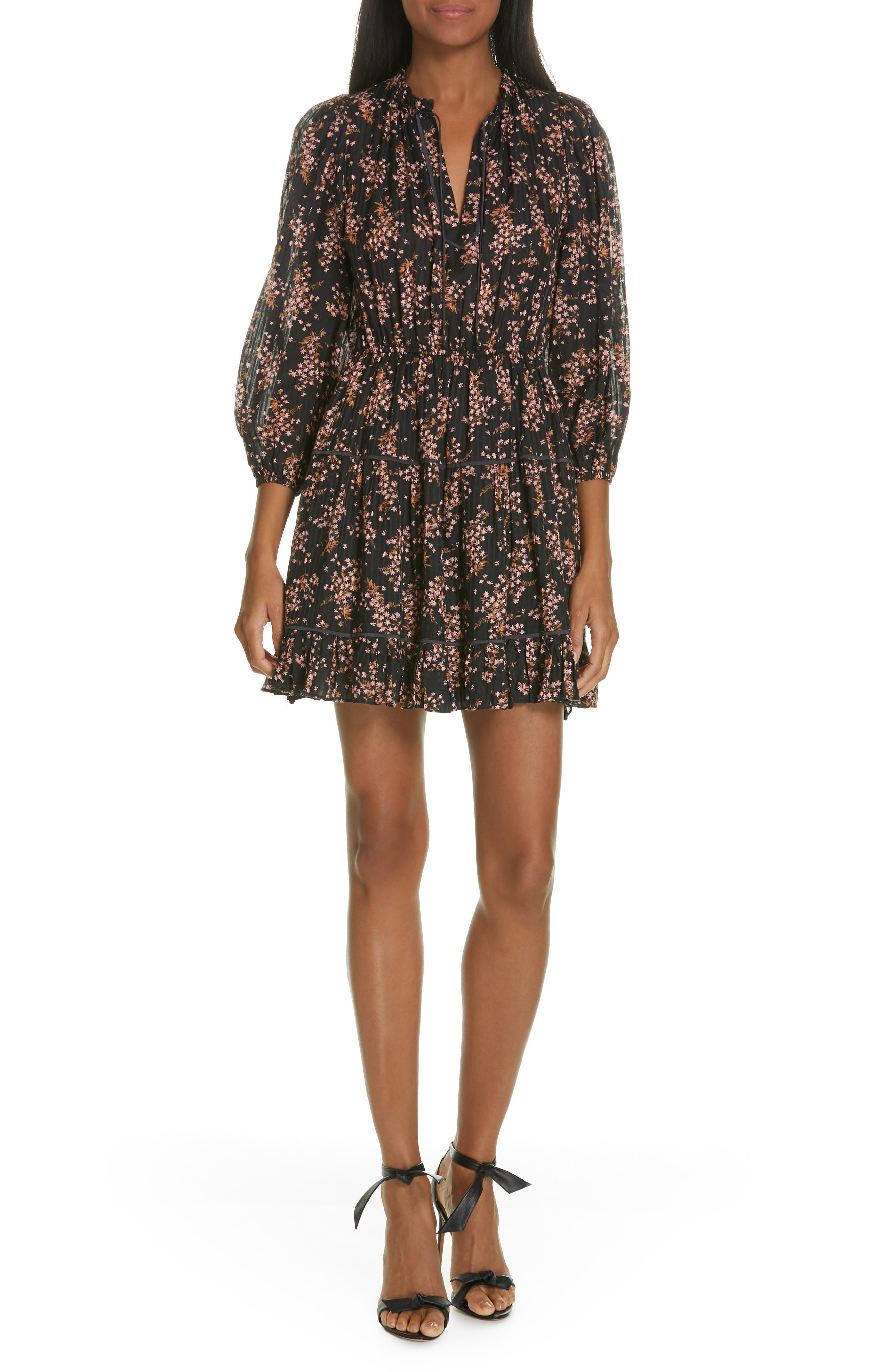 ULLA JOHNSON Brienne Floral Print Cotton & Silk Minidress, Main, color, JET