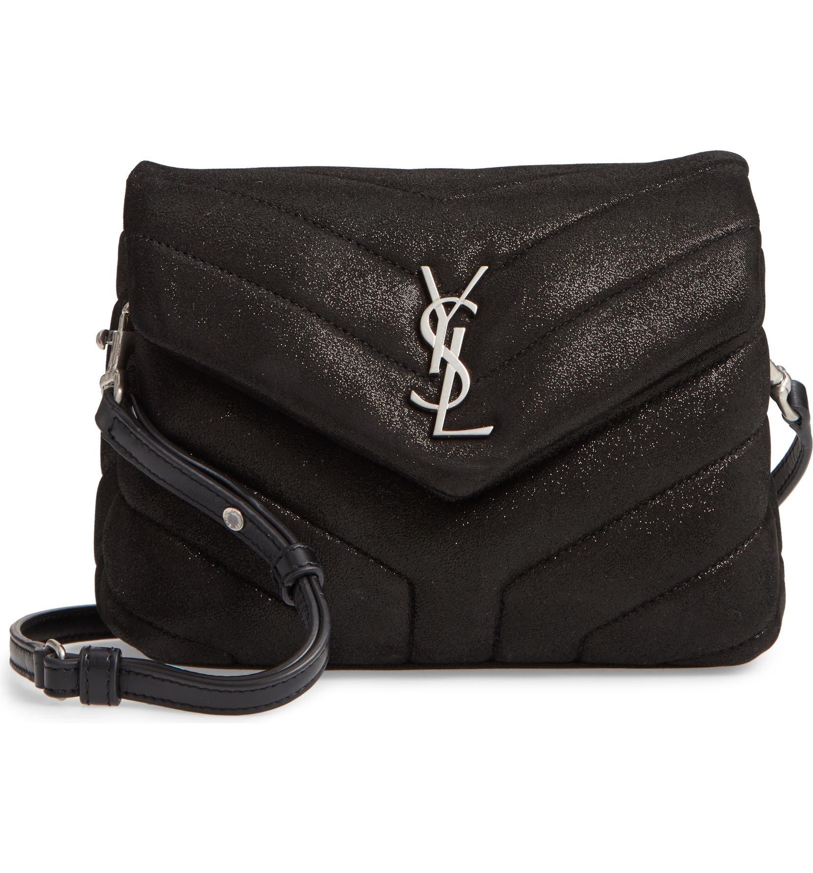 75a6b89588 Saint Laurent Mini Loulou Glitter Suede Crossbody Bag