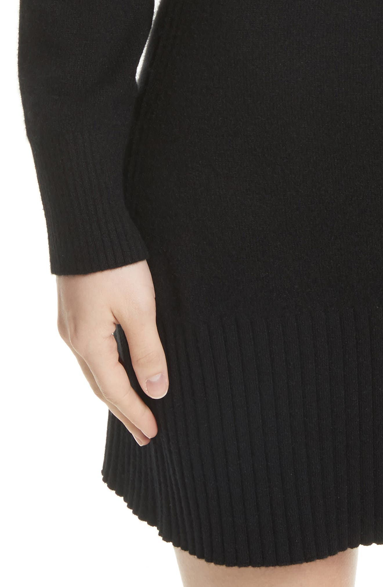 Turtleneck Cashmere Sweater Dress,                             Alternate thumbnail 4, color,                             001