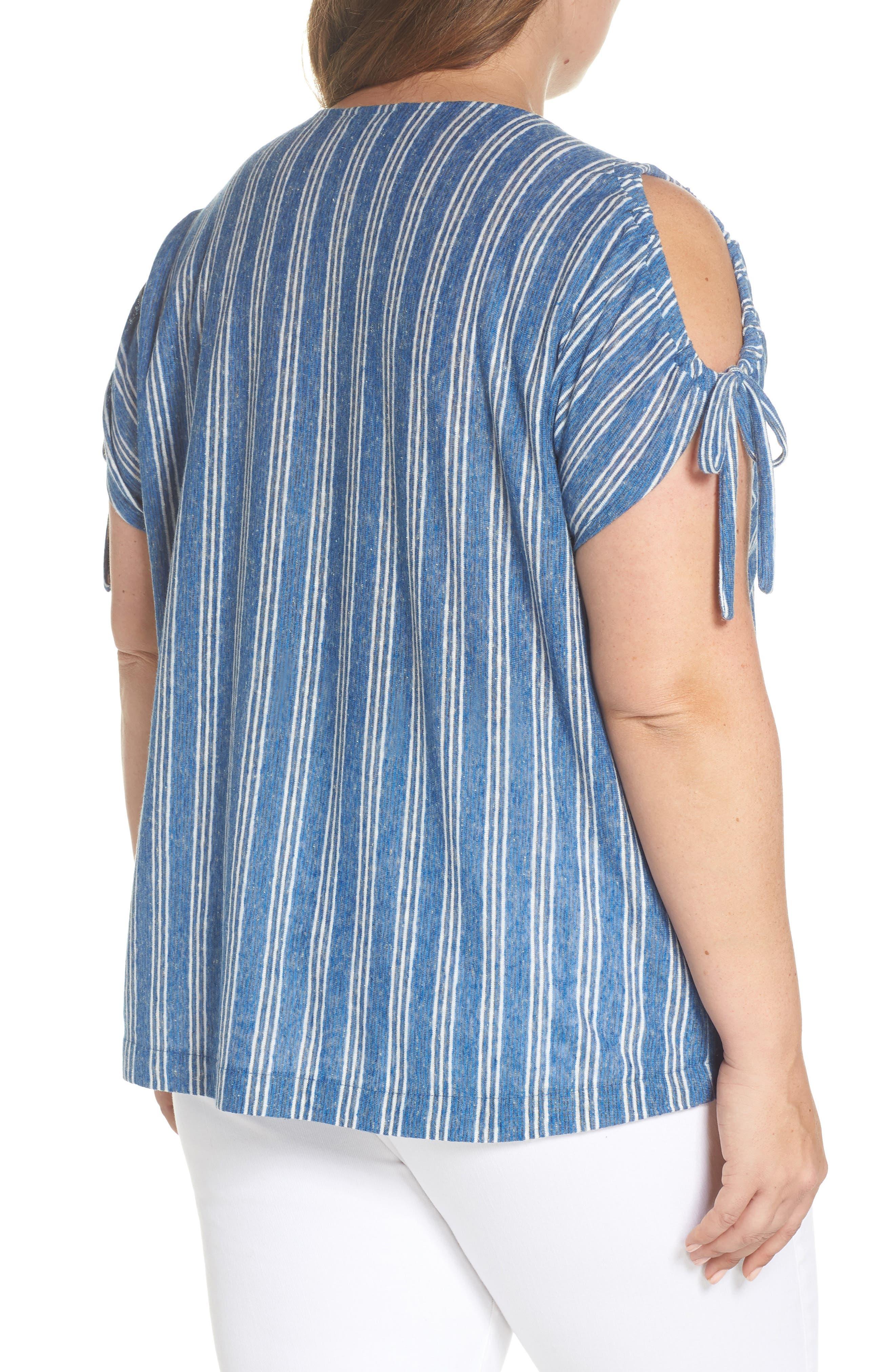 Stripe Tie Shoulder Linen Blend Tee,                             Alternate thumbnail 2, color,                             460