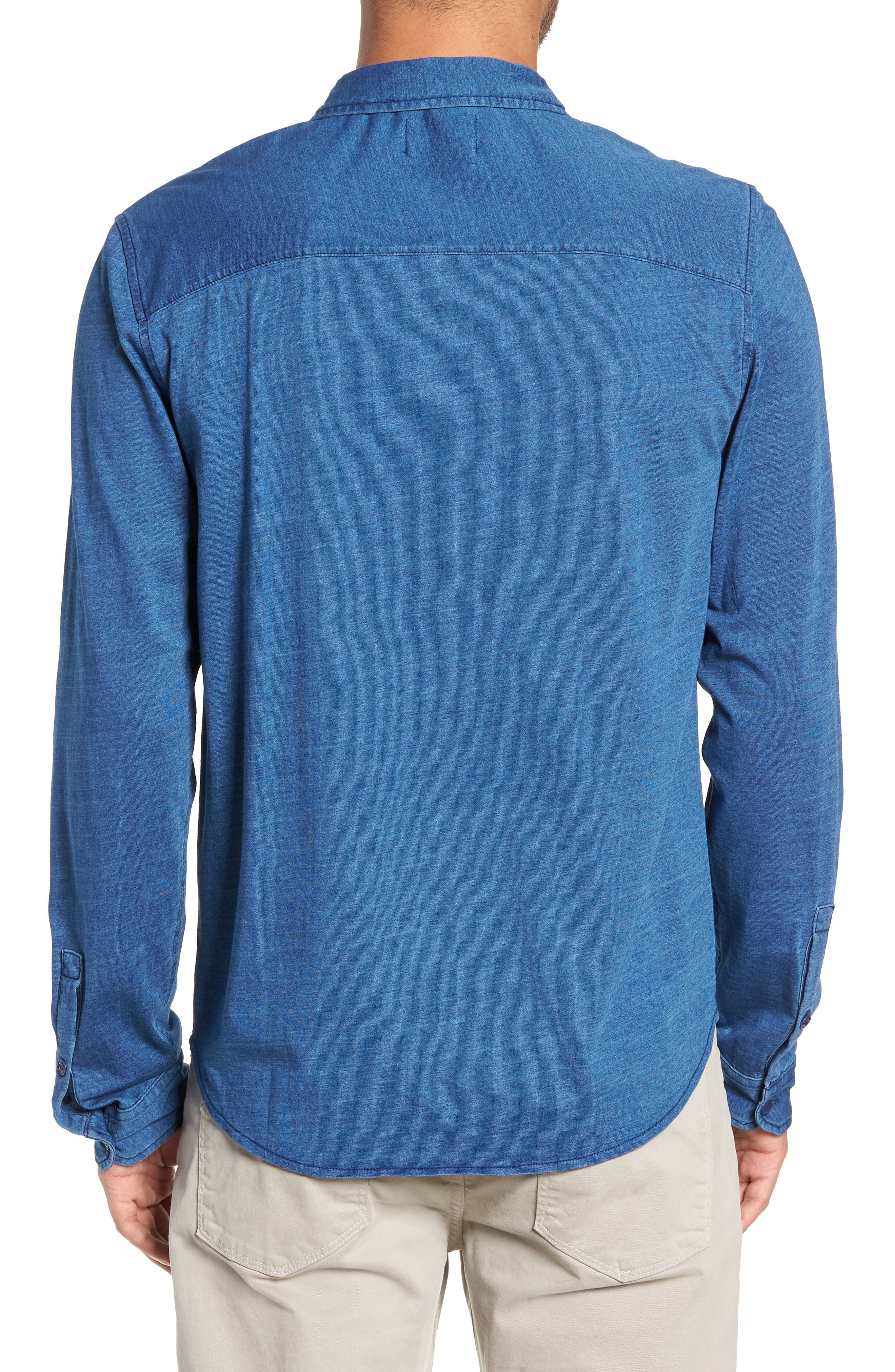 Knit Sport Shirt,                             Alternate thumbnail 2, color,                             MEDIUM INDIGO