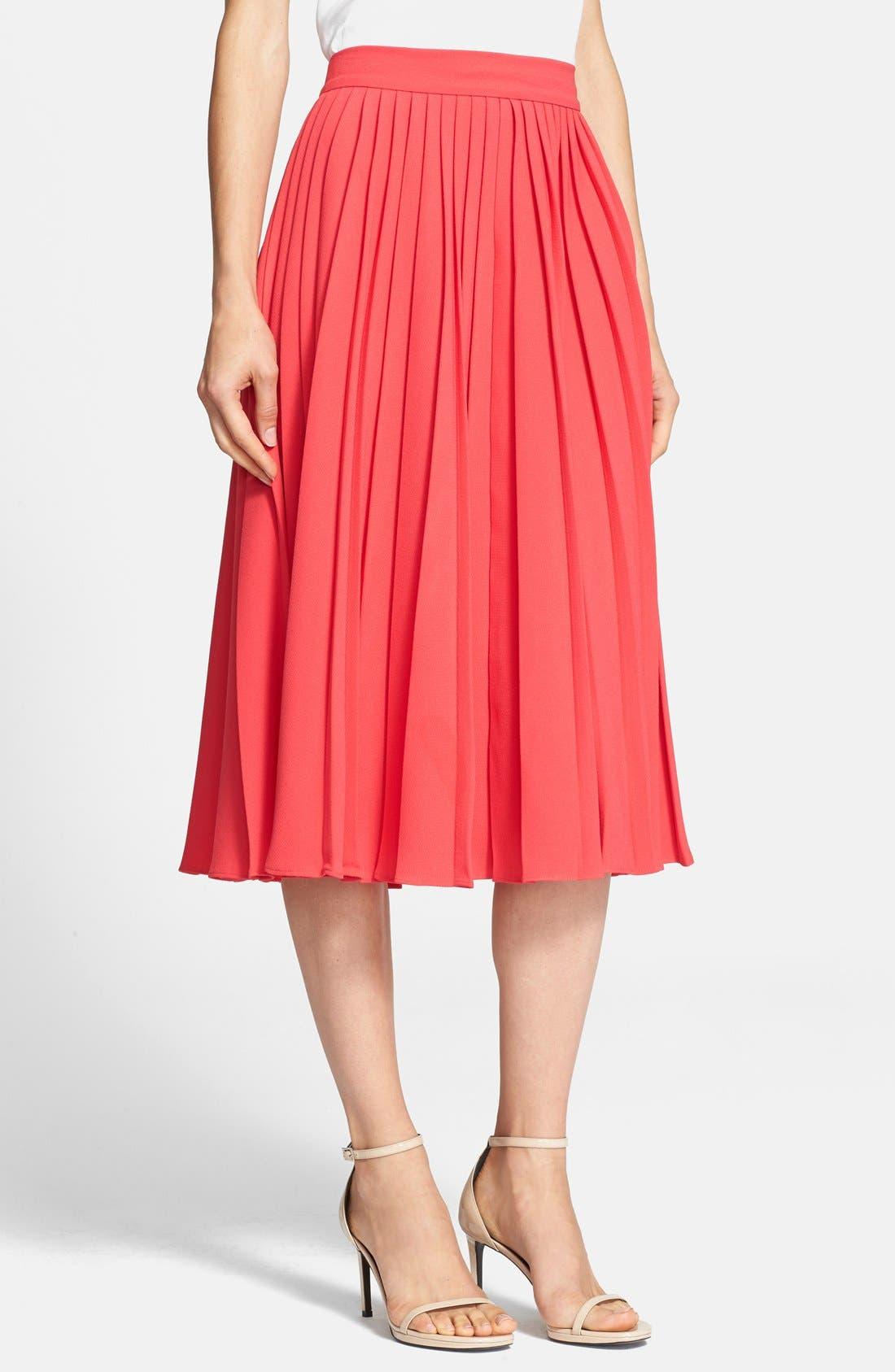 pleated crepe midi skirt,                             Main thumbnail 2, color,