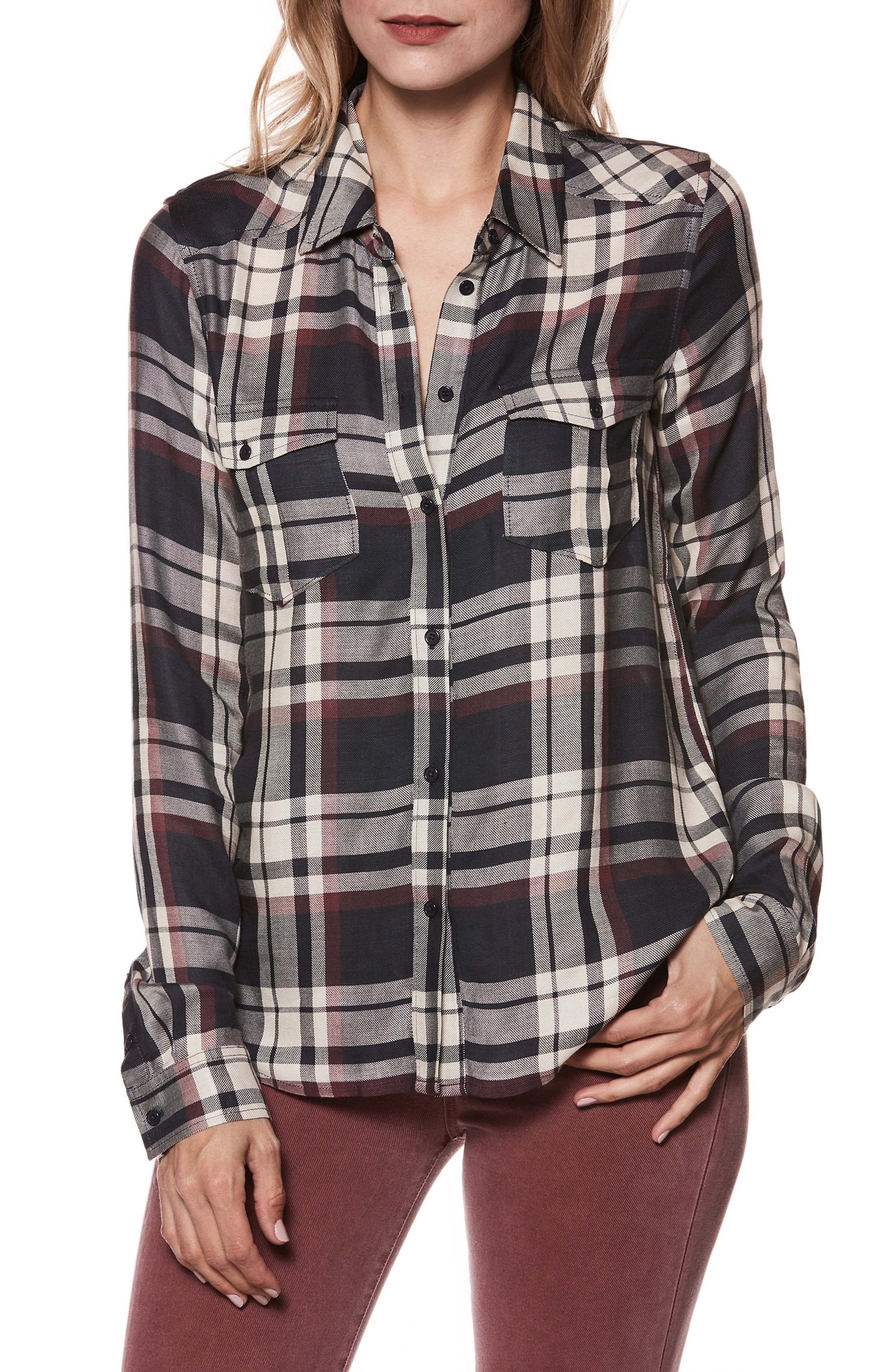 Mya Plaid Shirt,                             Main thumbnail 1, color,                             400
