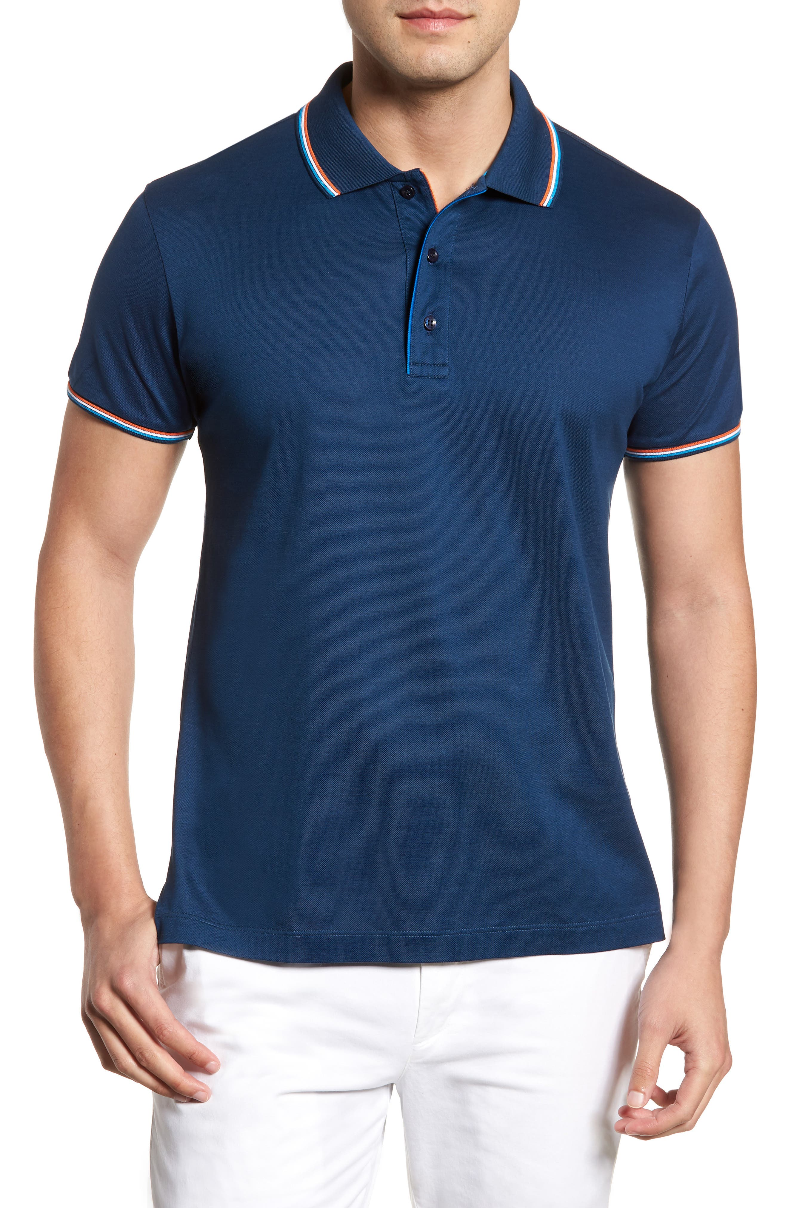 Paul&Shark Tipped Polo,                         Main,                         color, 403