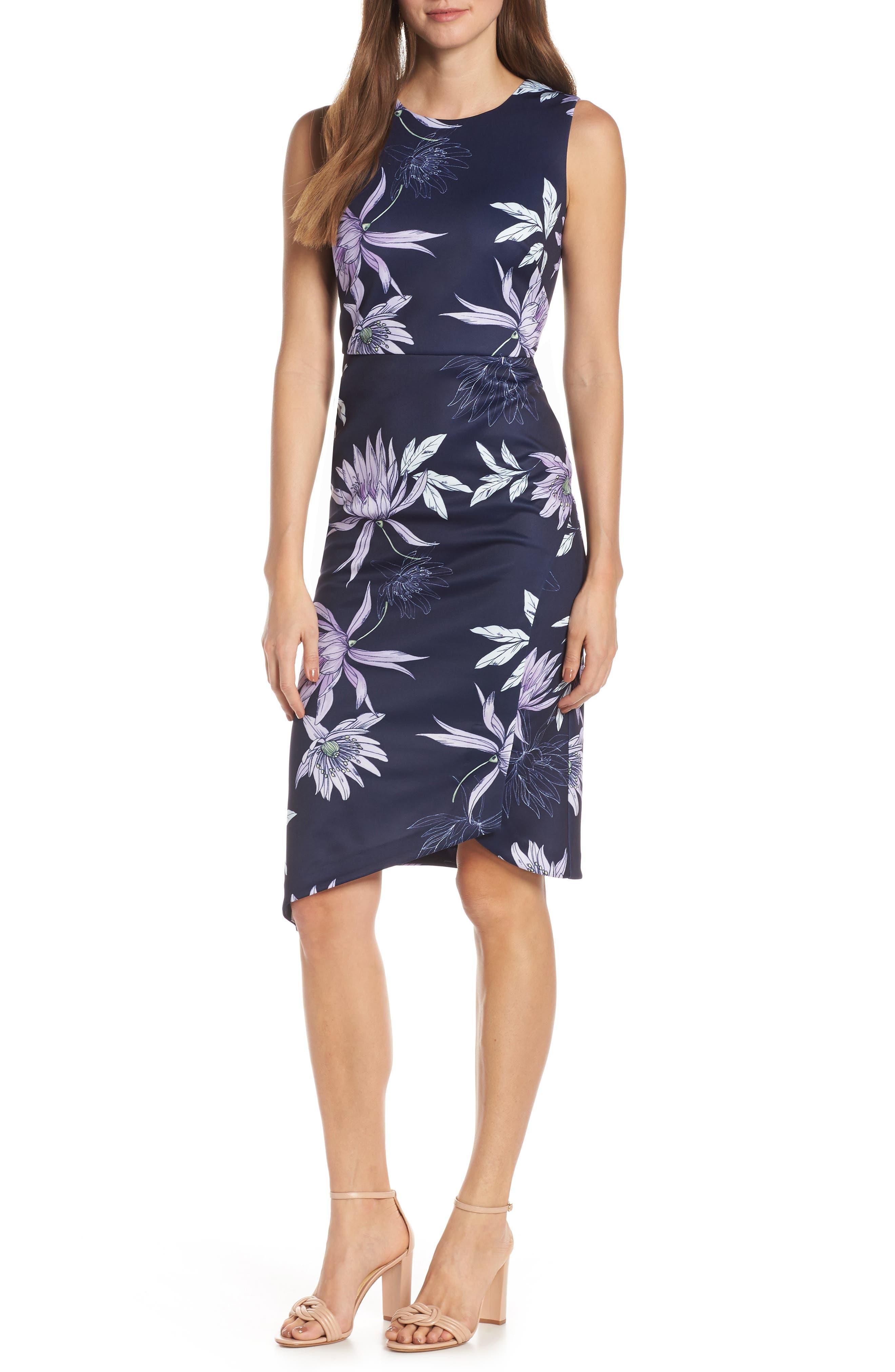 VINCE CAMUTO Floral Print Asymmetrical Hem Dress, Main, color, NAVY/ MULTI