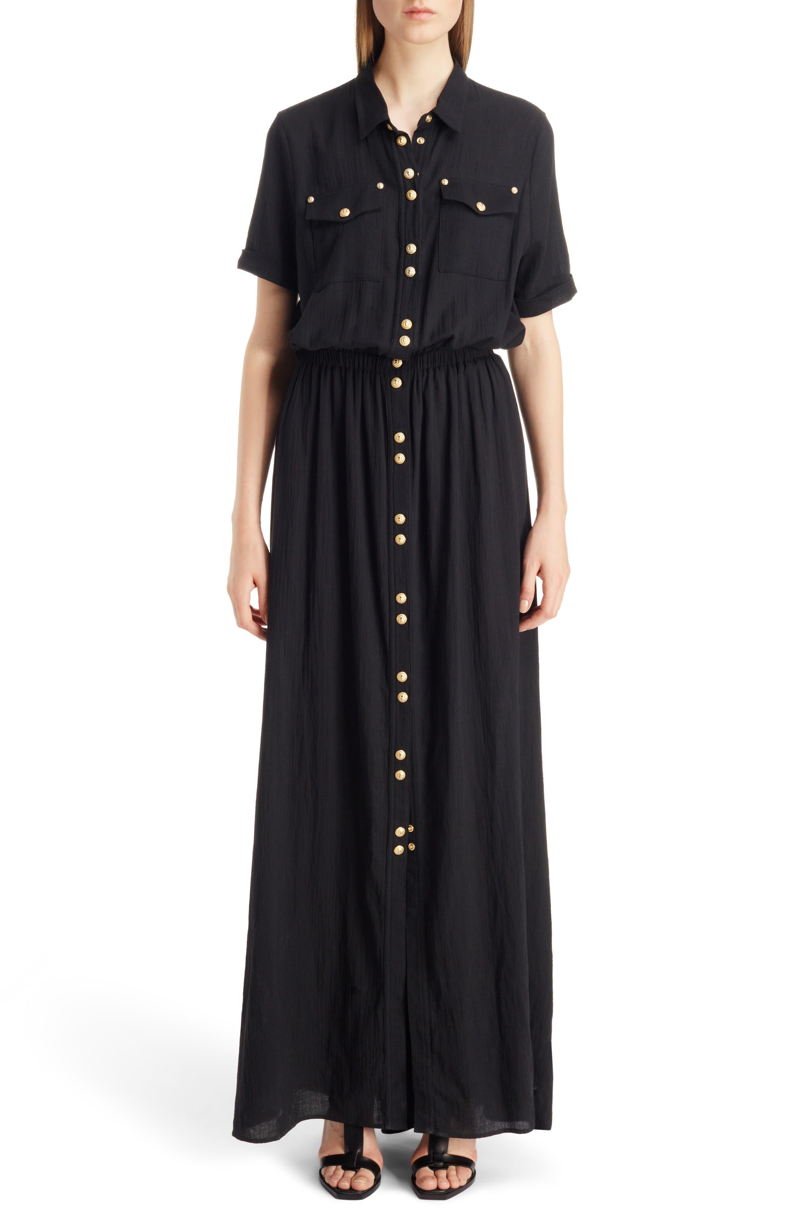 Button Front Cotton Maxi Dress,                             Alternate thumbnail 5, color,                             001