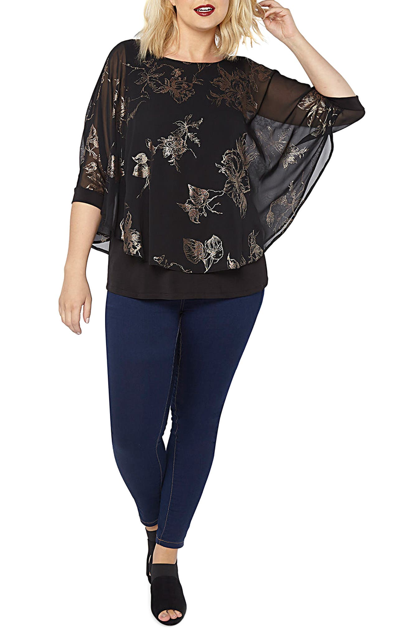 Flower Overlay Top,                         Main,                         color, 001