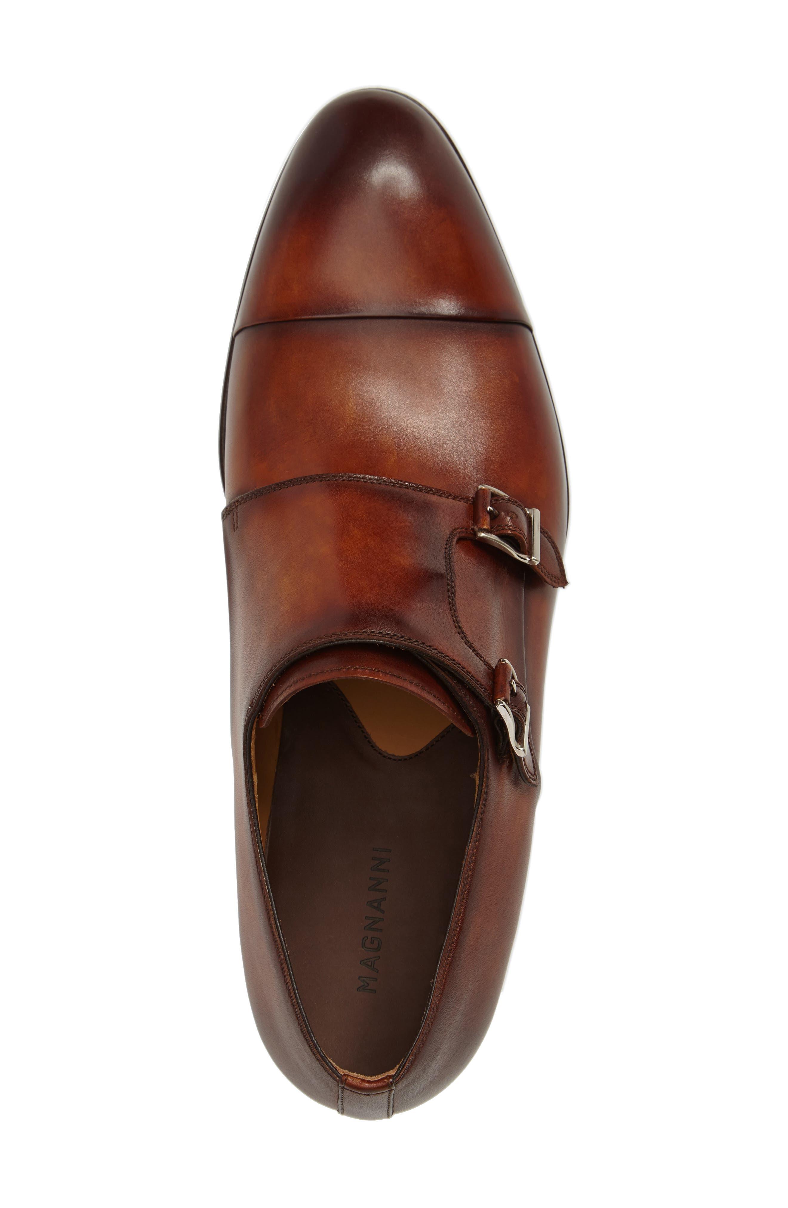 Louie Double Monk Strap Shoe,                             Alternate thumbnail 5, color,                             COGNAC LEATHER