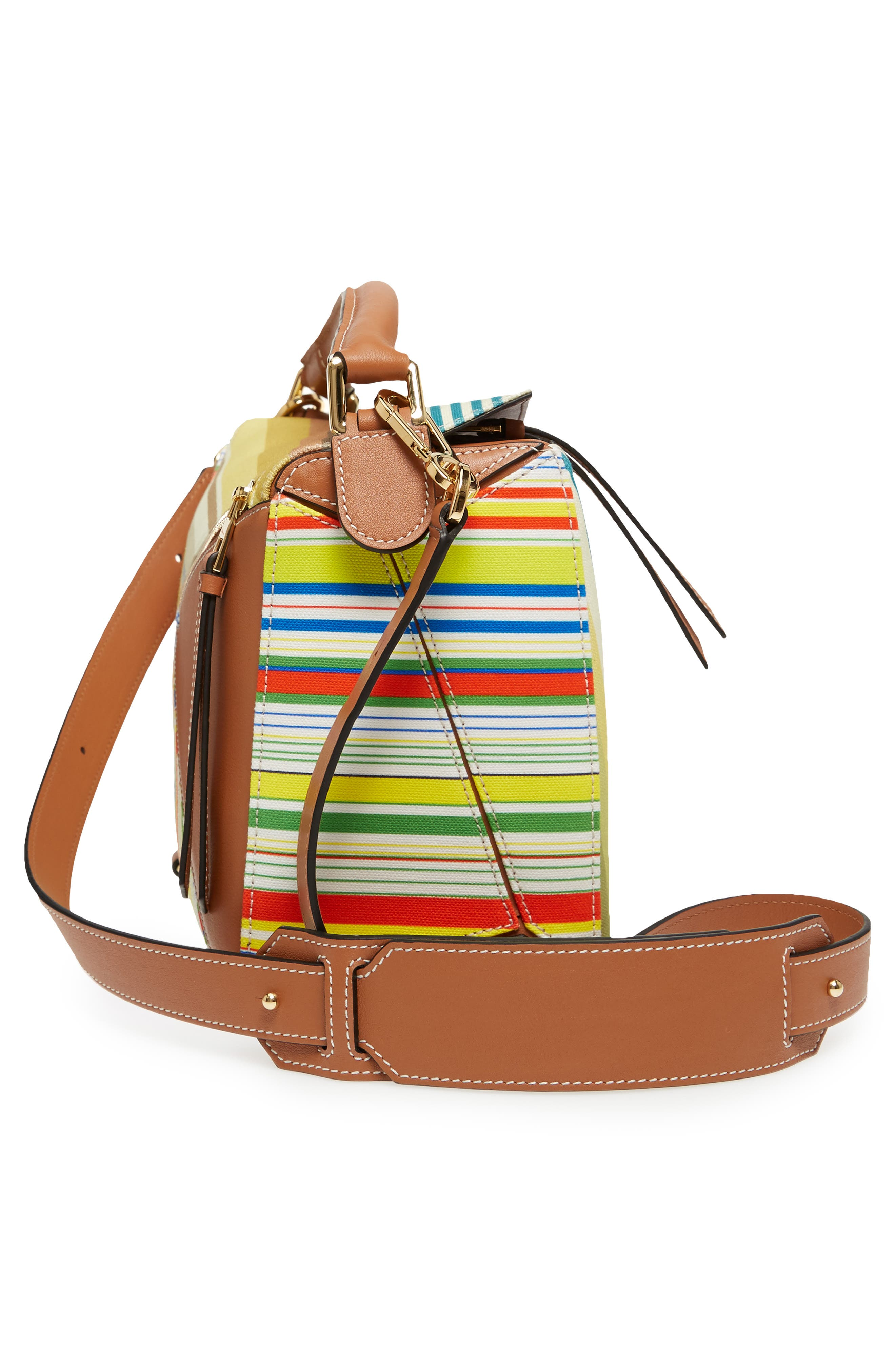 Medium Puzzle Stripe Canvas & Leather Shoulder Bag,                             Alternate thumbnail 6, color,