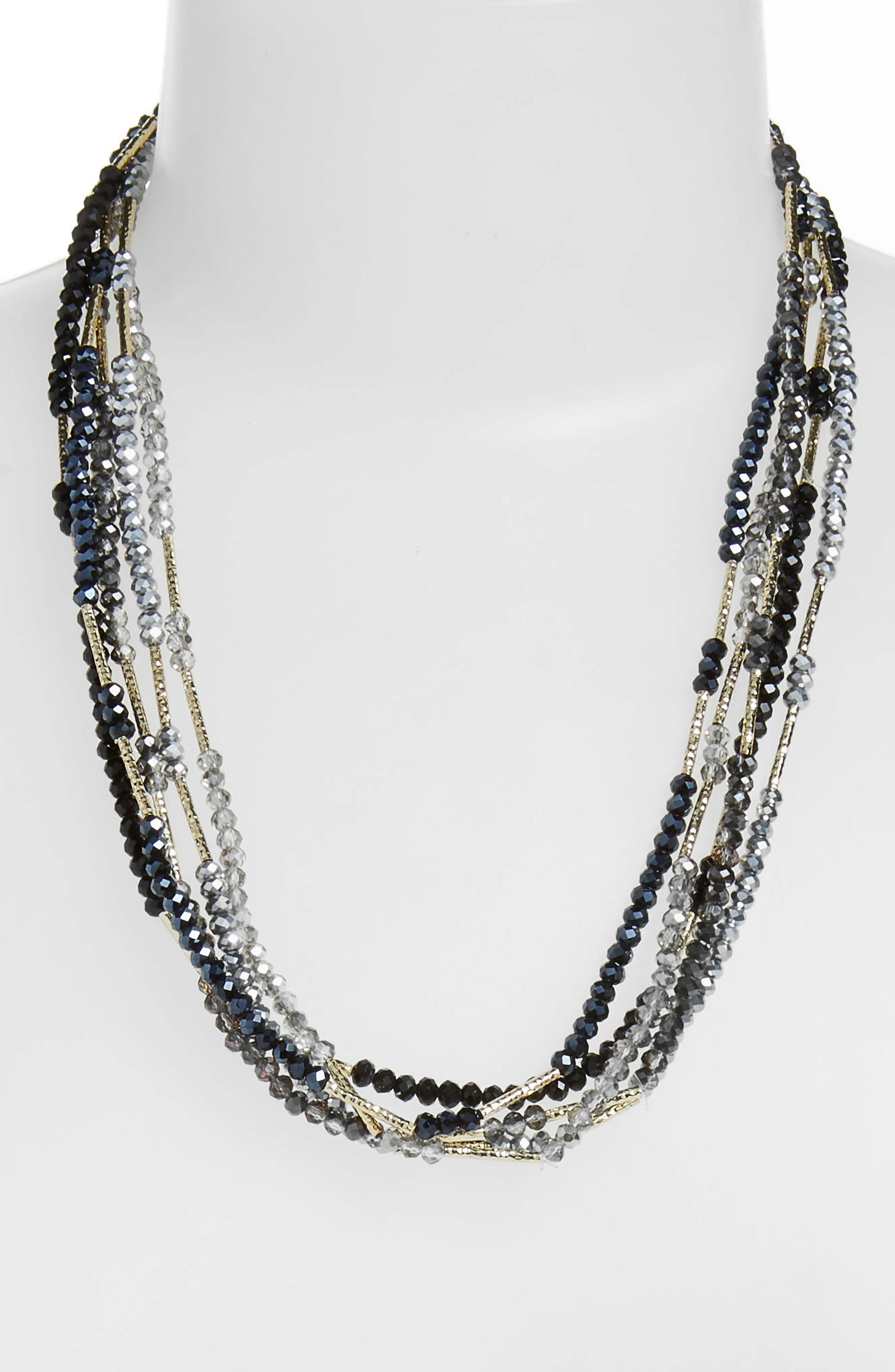 STELLA + RUBY Multi Strand Necklace in Gold/ Black