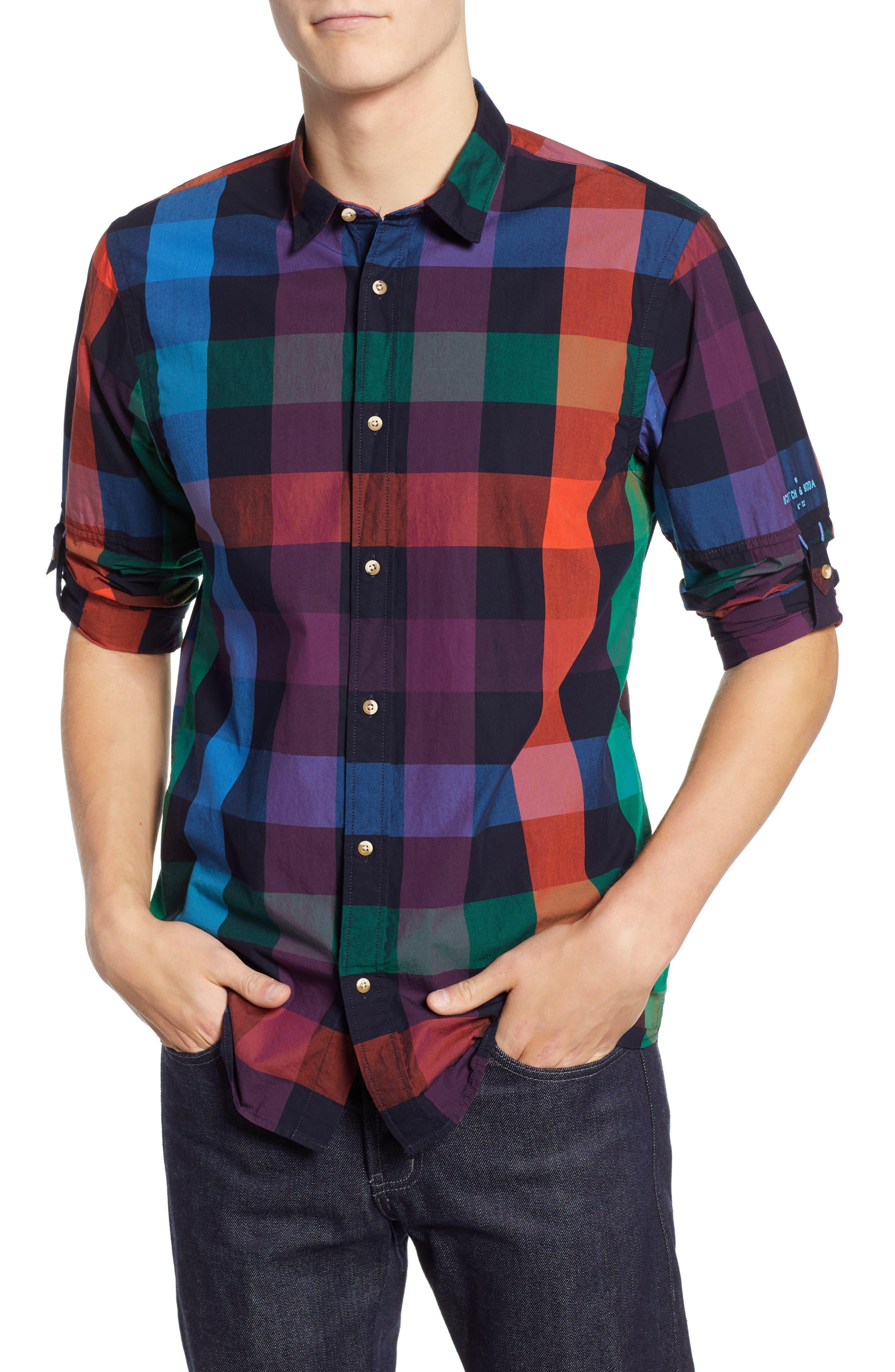 SCOTCH & SODA Check Sport Shirt, Main, color, 300