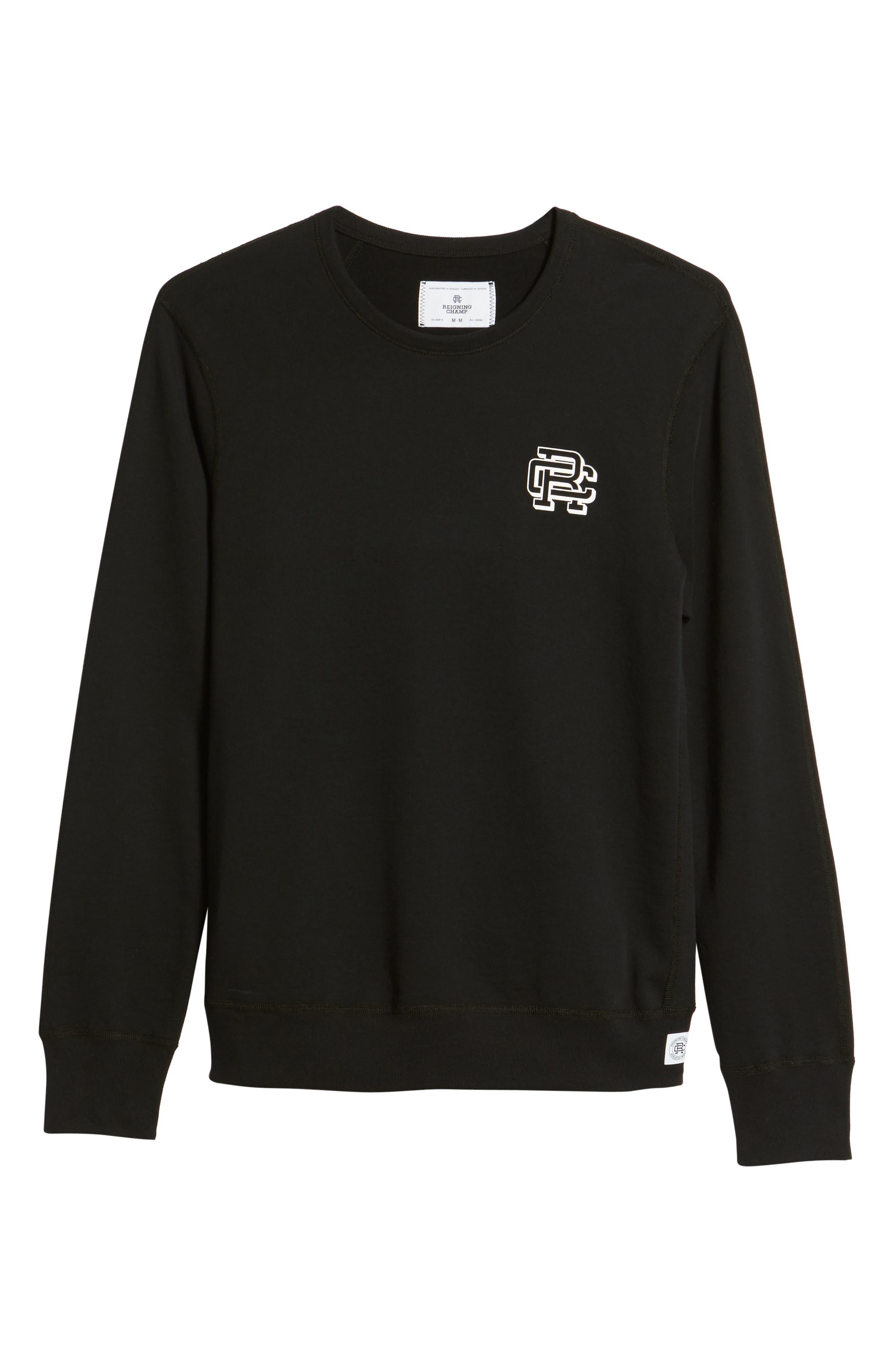 Lightweight Classic Fit Sweatshirt,                             Alternate thumbnail 6, color,                             BLACK