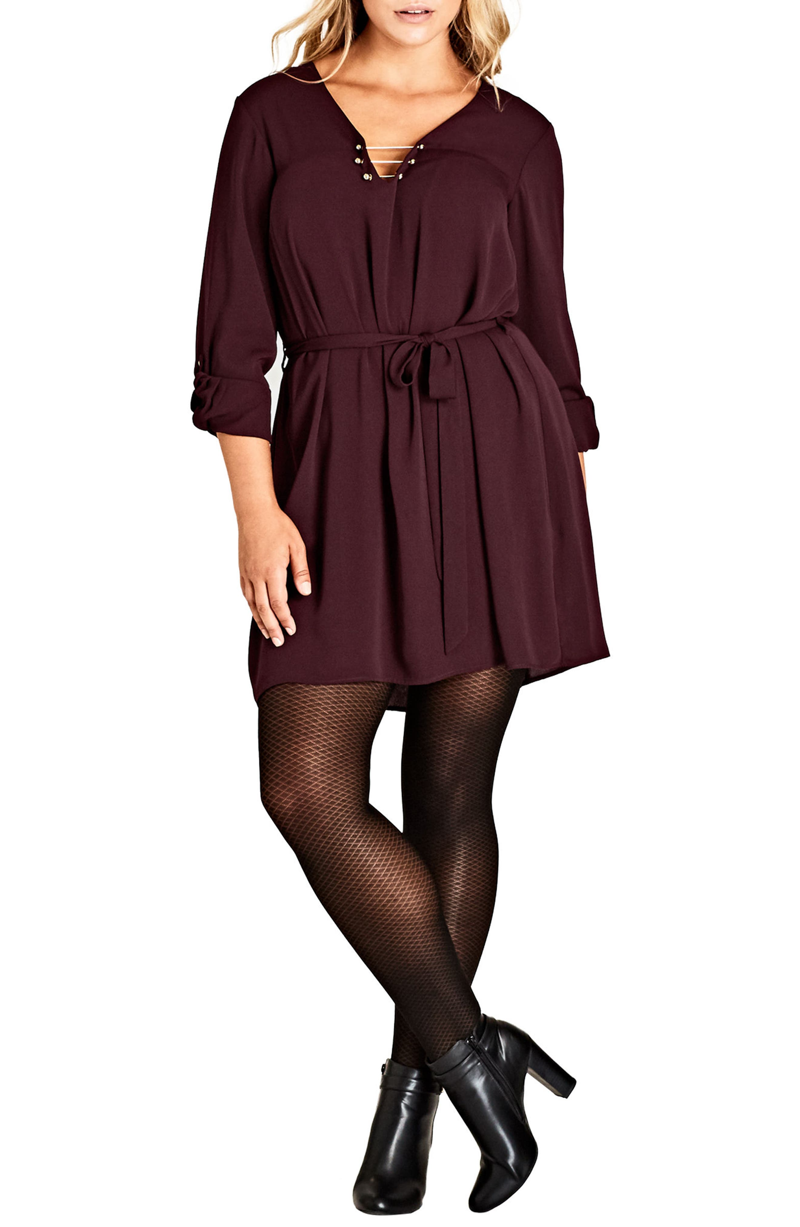Pierced Heart Belted Tunic,                             Main thumbnail 1, color,                             OX BLOOD