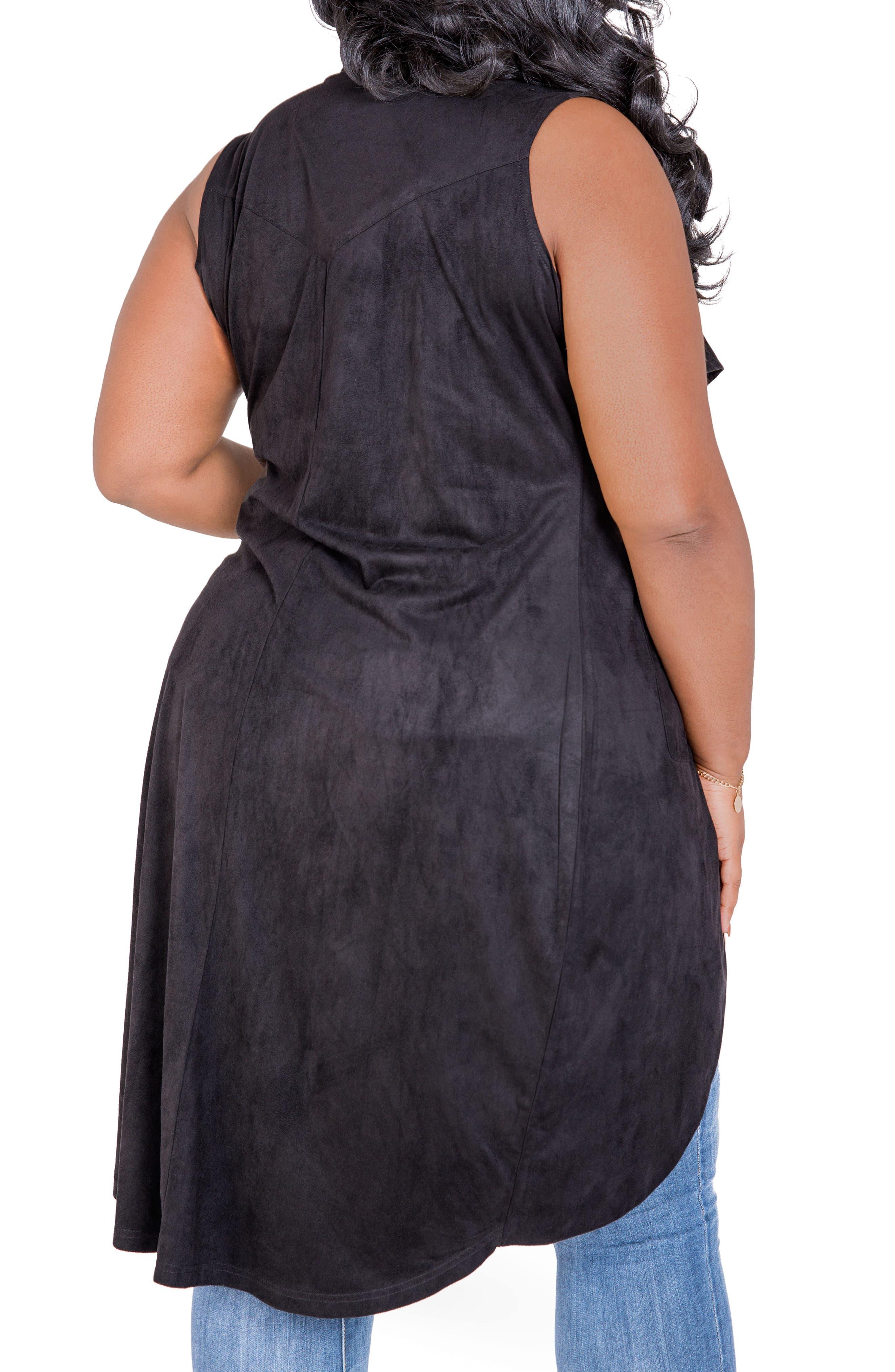Kelis Long Faux Suede Vest,                             Alternate thumbnail 3, color,                             BLACK