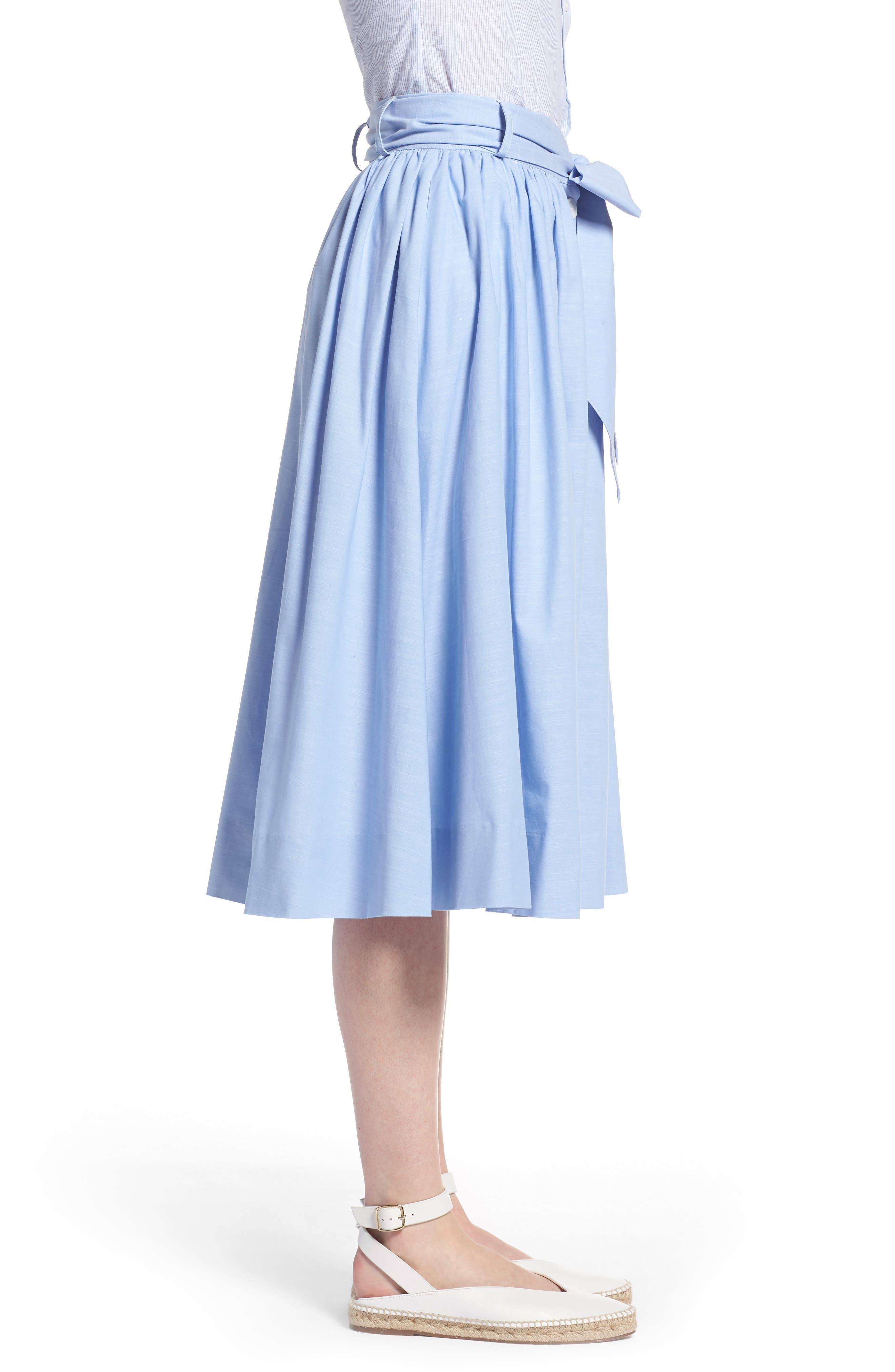 1901,                             Bow Tie Chambray Skirt,                             Alternate thumbnail 3, color,                             420
