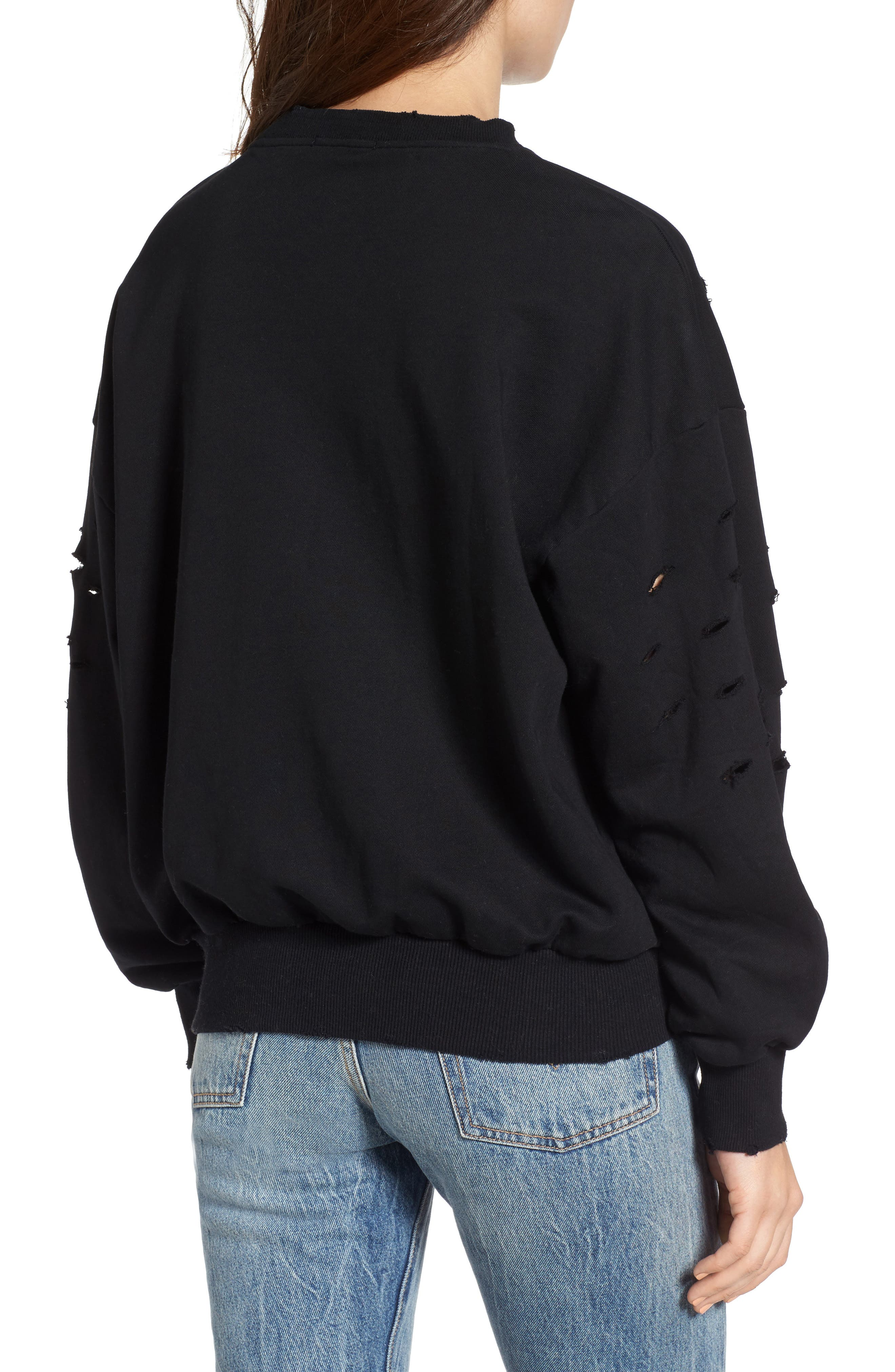 Holey Sweatshirt,                             Alternate thumbnail 2, color,                             001