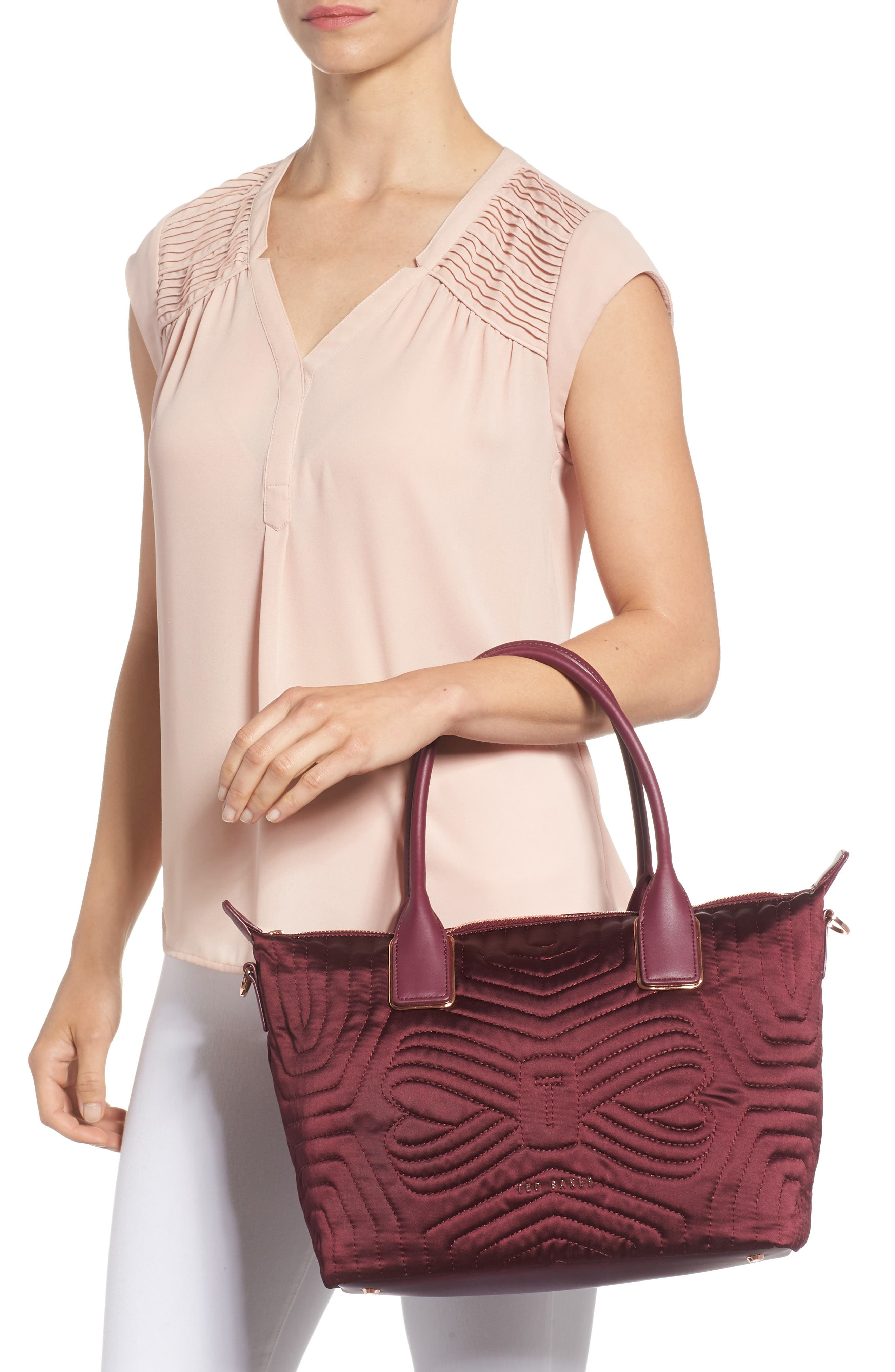 Akebia Quilted Bow Small Nylon Tote,                             Alternate thumbnail 2, color,                             MAROON